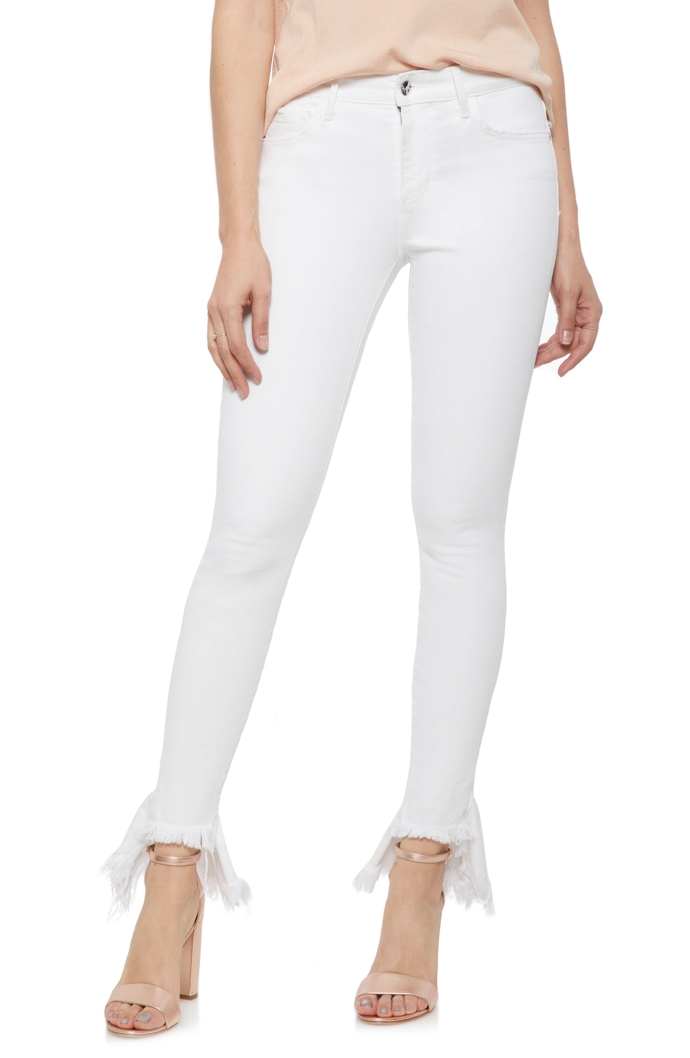 The Kitten Ruffle Step Hem Skinny Jeans,                         Main,                         color, Brazil