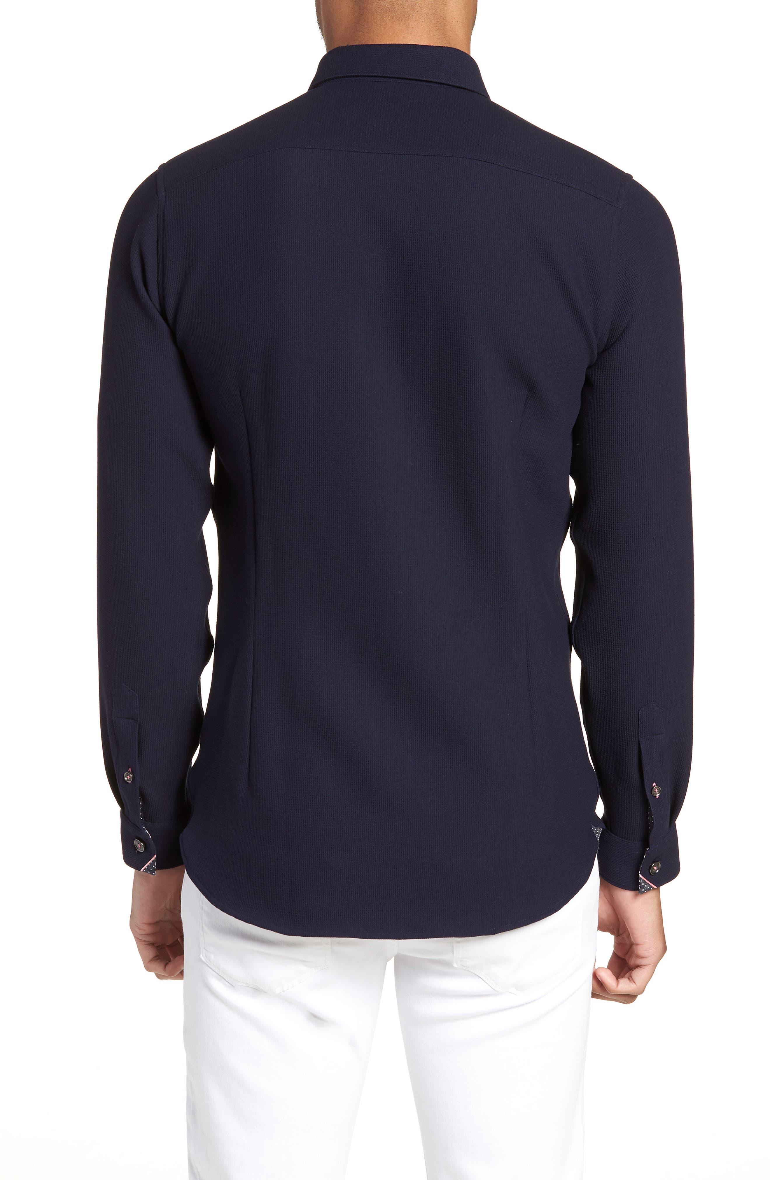 Loretax Trim Fit Stretch Knit Sport Shirt,                             Alternate thumbnail 3, color,                             Navy
