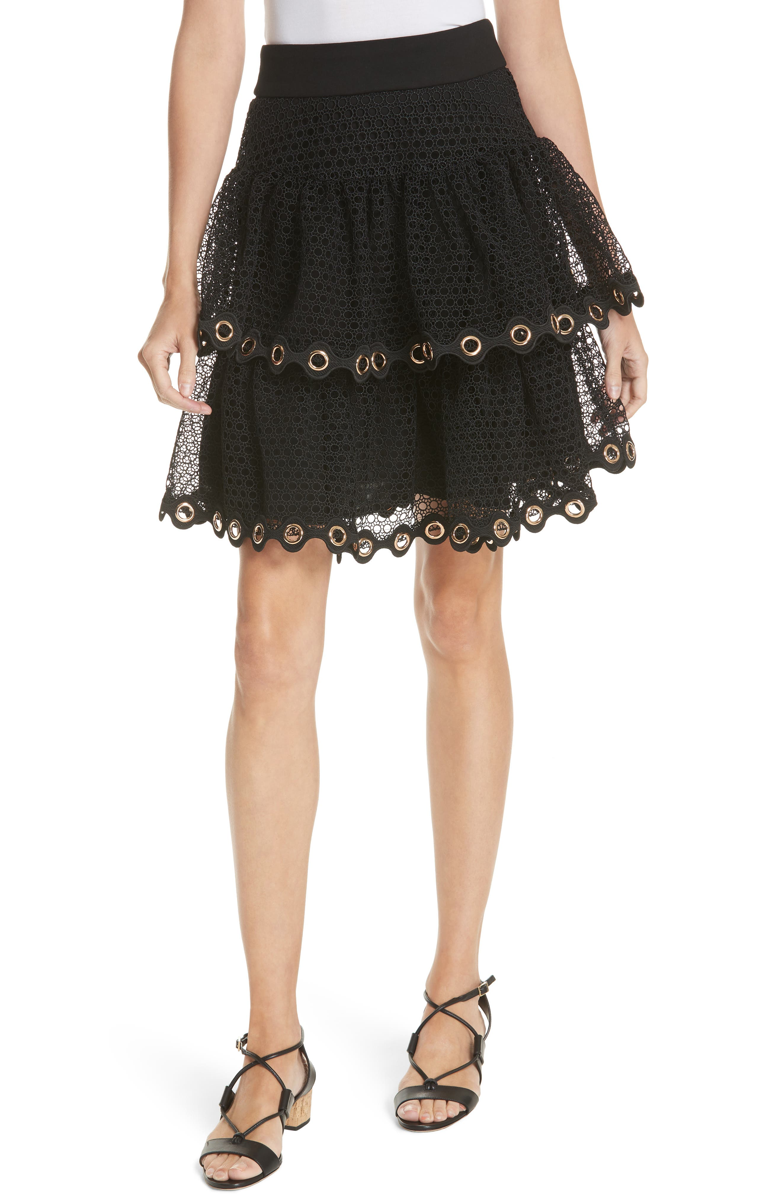 James Tiered Ruffle Grommet Skirt,                             Main thumbnail 1, color,                             Black