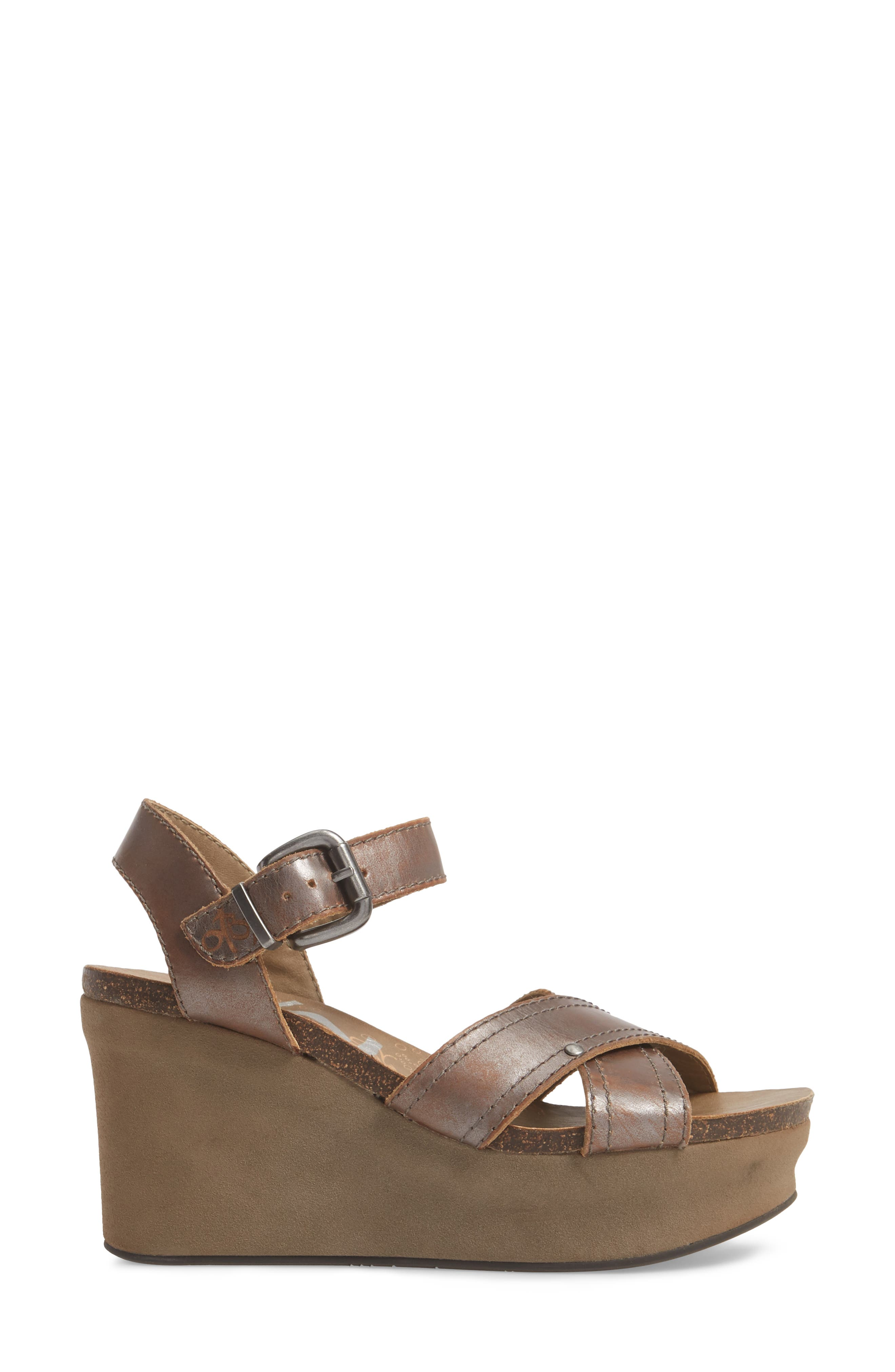 Bee Cave Wedge Sandal,                             Alternate thumbnail 3, color,                             Pewter Leather