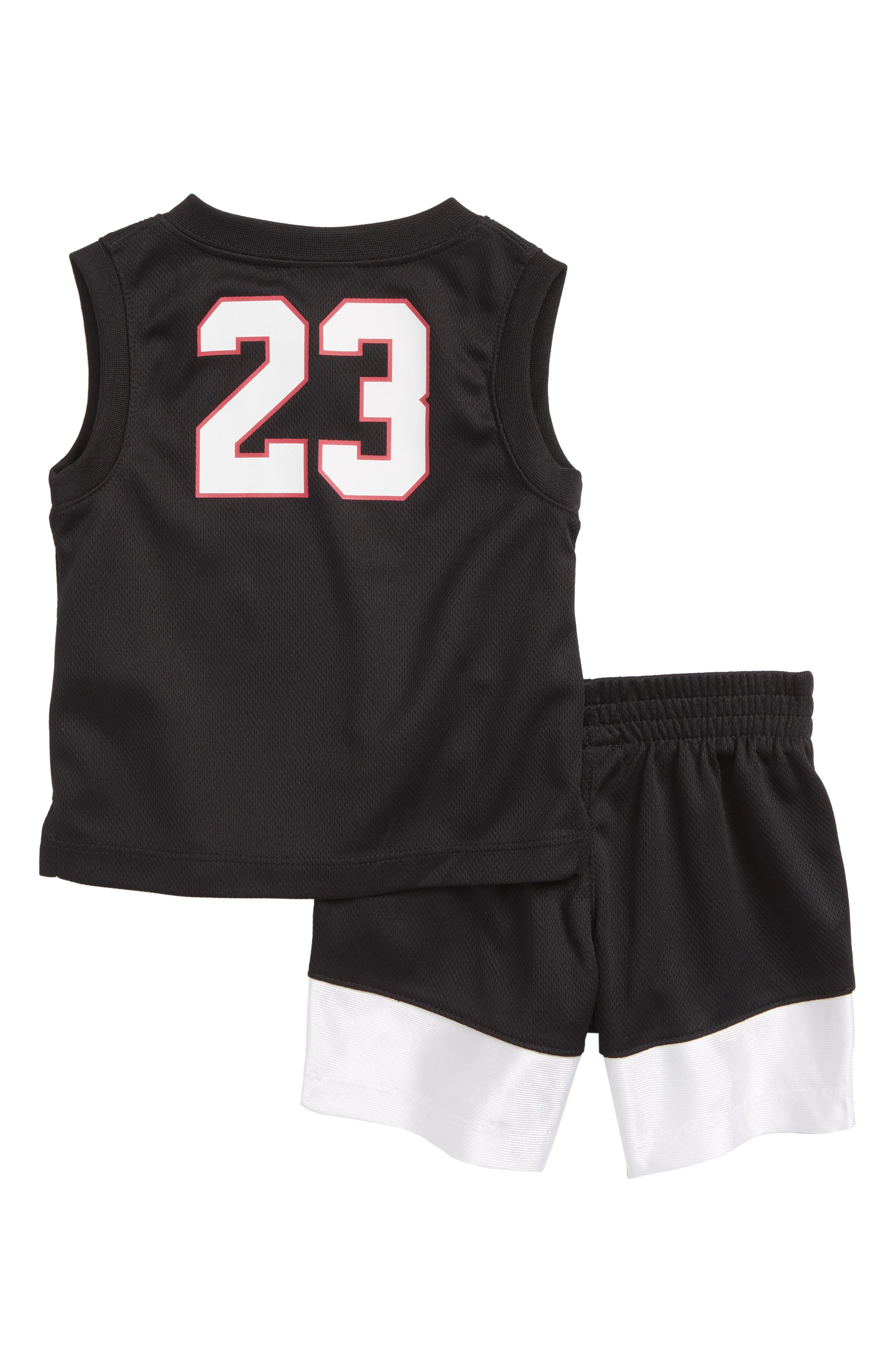 AJ23 Jersey Tank Top & Mesh Shorts Set,                             Alternate thumbnail 2, color,                             Black