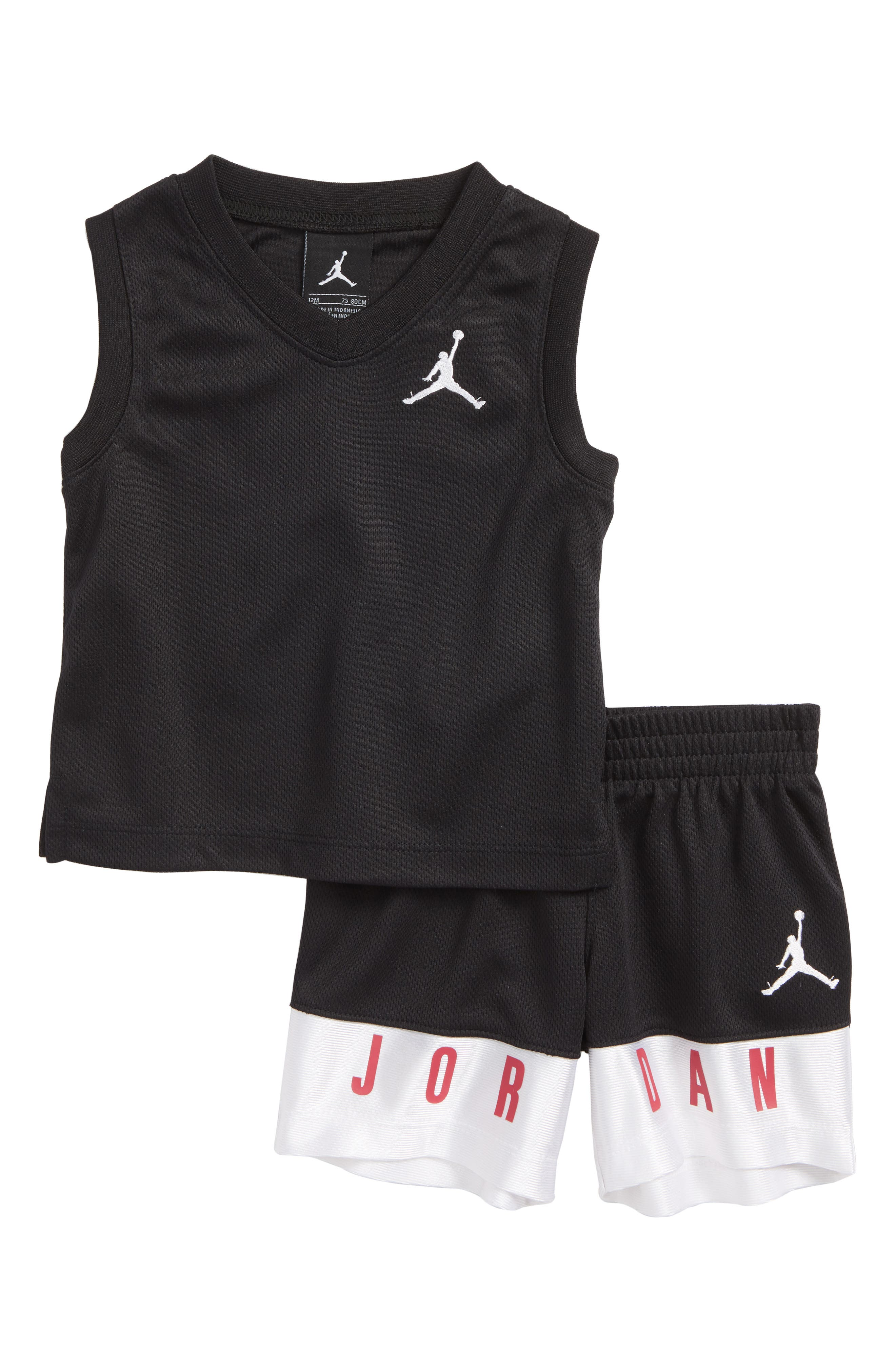 AJ23 Jersey Tank Top & Mesh Shorts Set,                         Main,                         color, Black