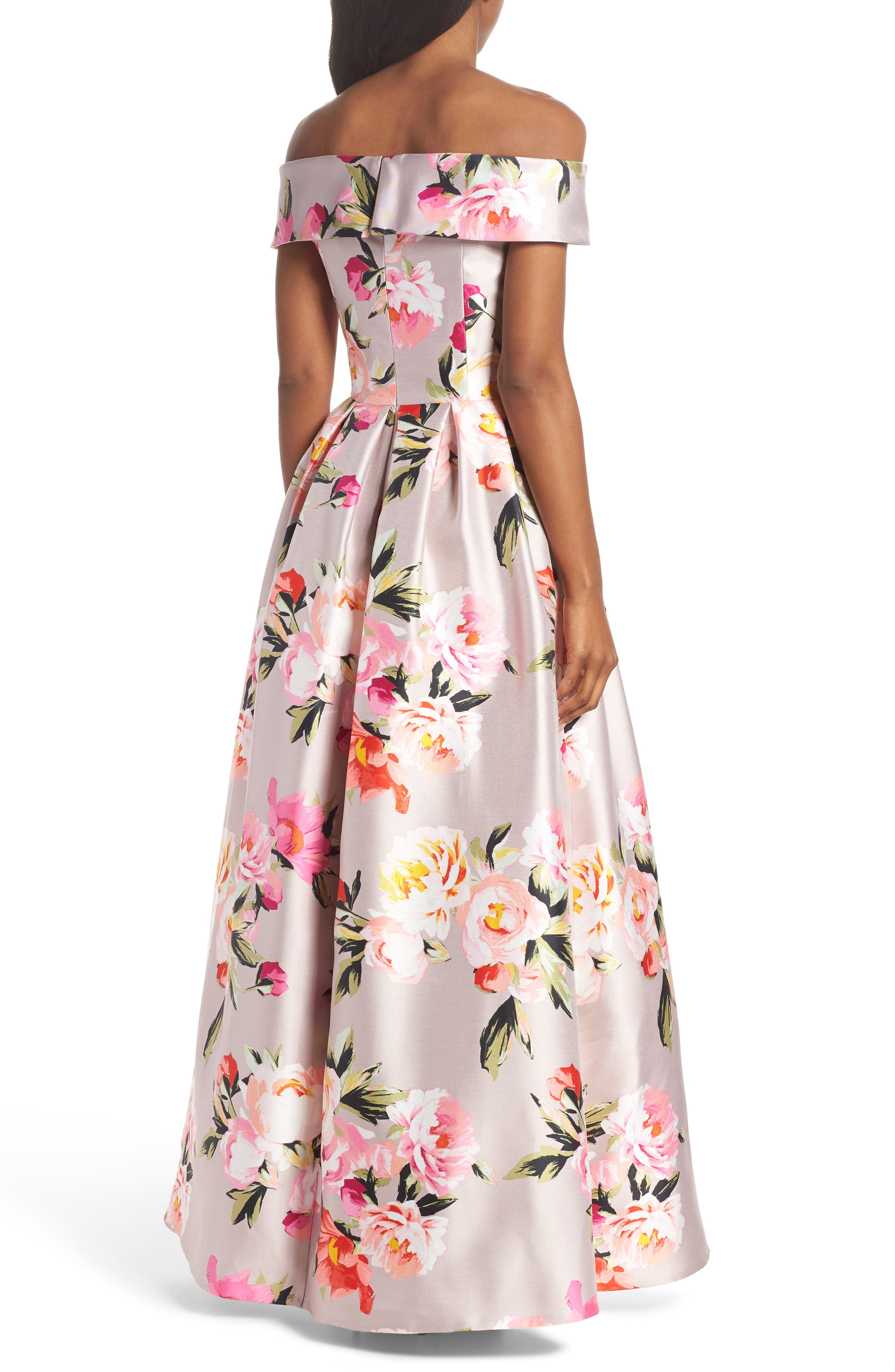 Floral Off the Shoulder Mikado Gown,                             Alternate thumbnail 3, color,                             Blush