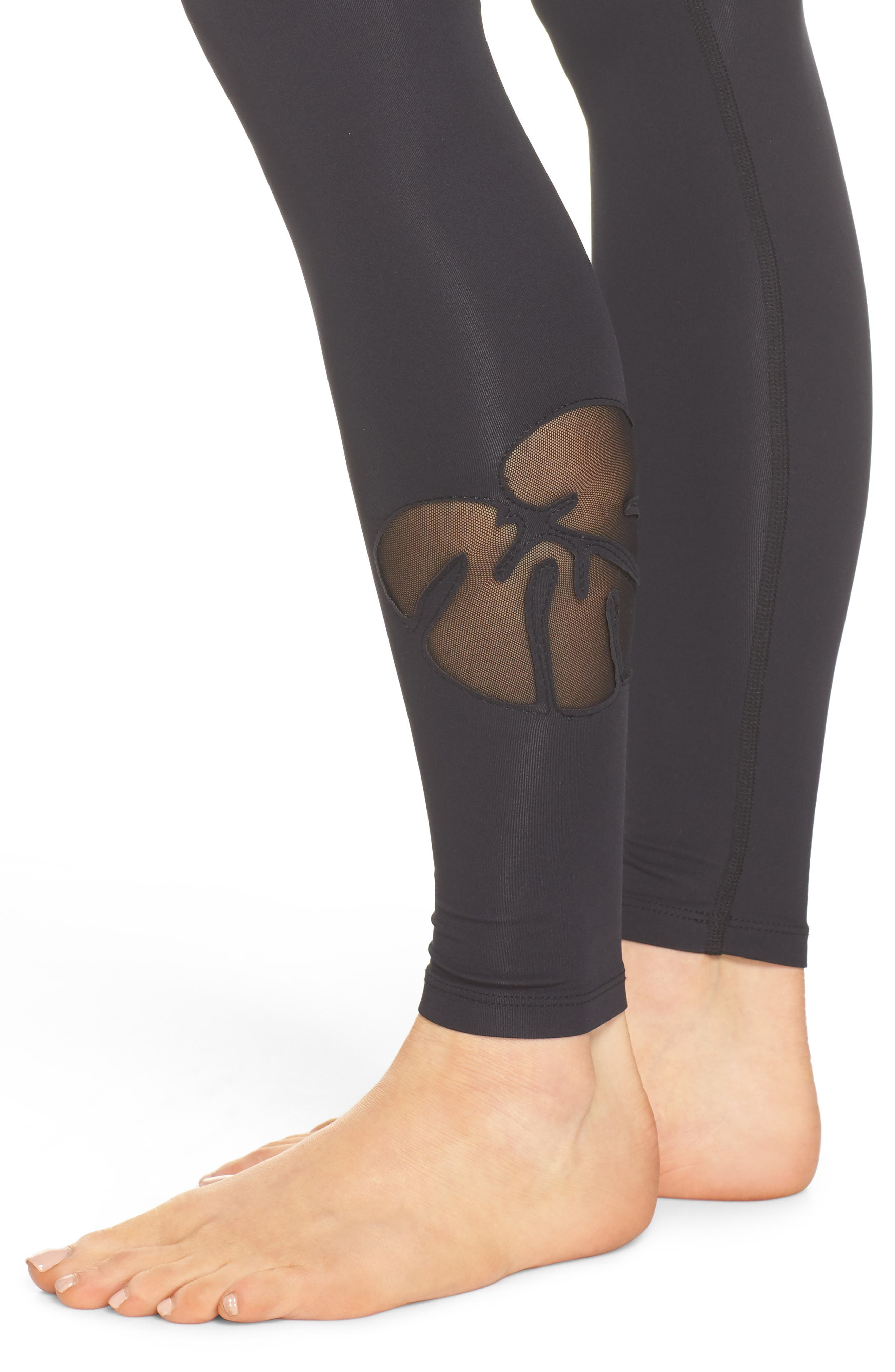 Take Leaf High Waist Leggings,                             Alternate thumbnail 6, color,                             Black