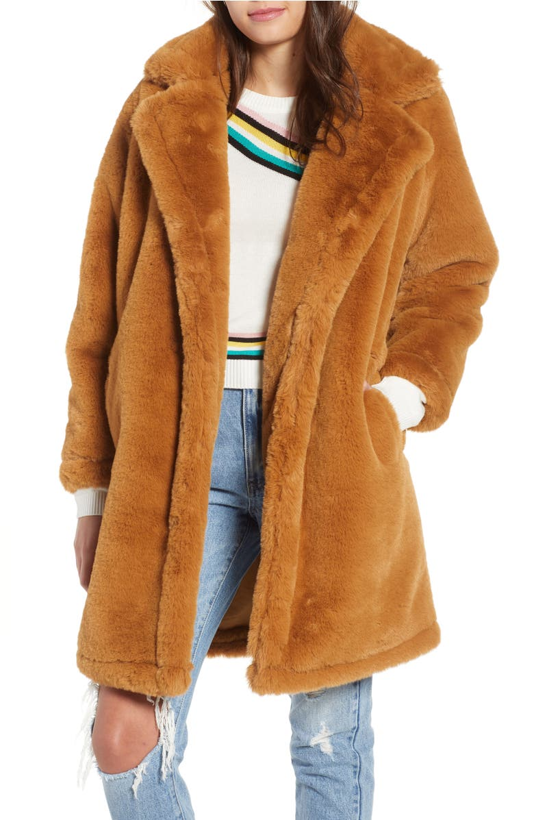 Faux Fur Teddy Coat,                         Main,                         color, Camel