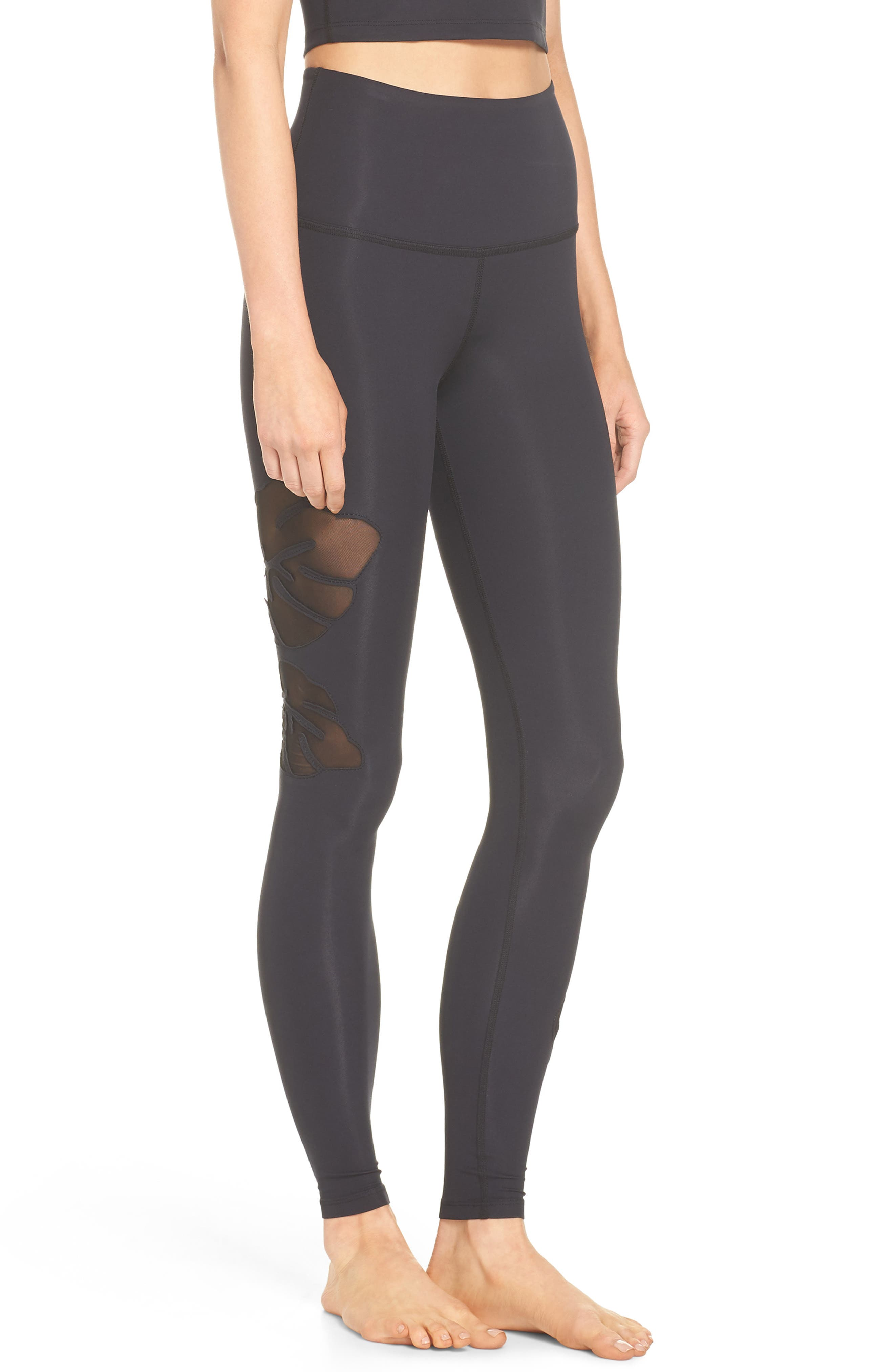 Take Leaf High Waist Leggings,                             Alternate thumbnail 9, color,                             Black