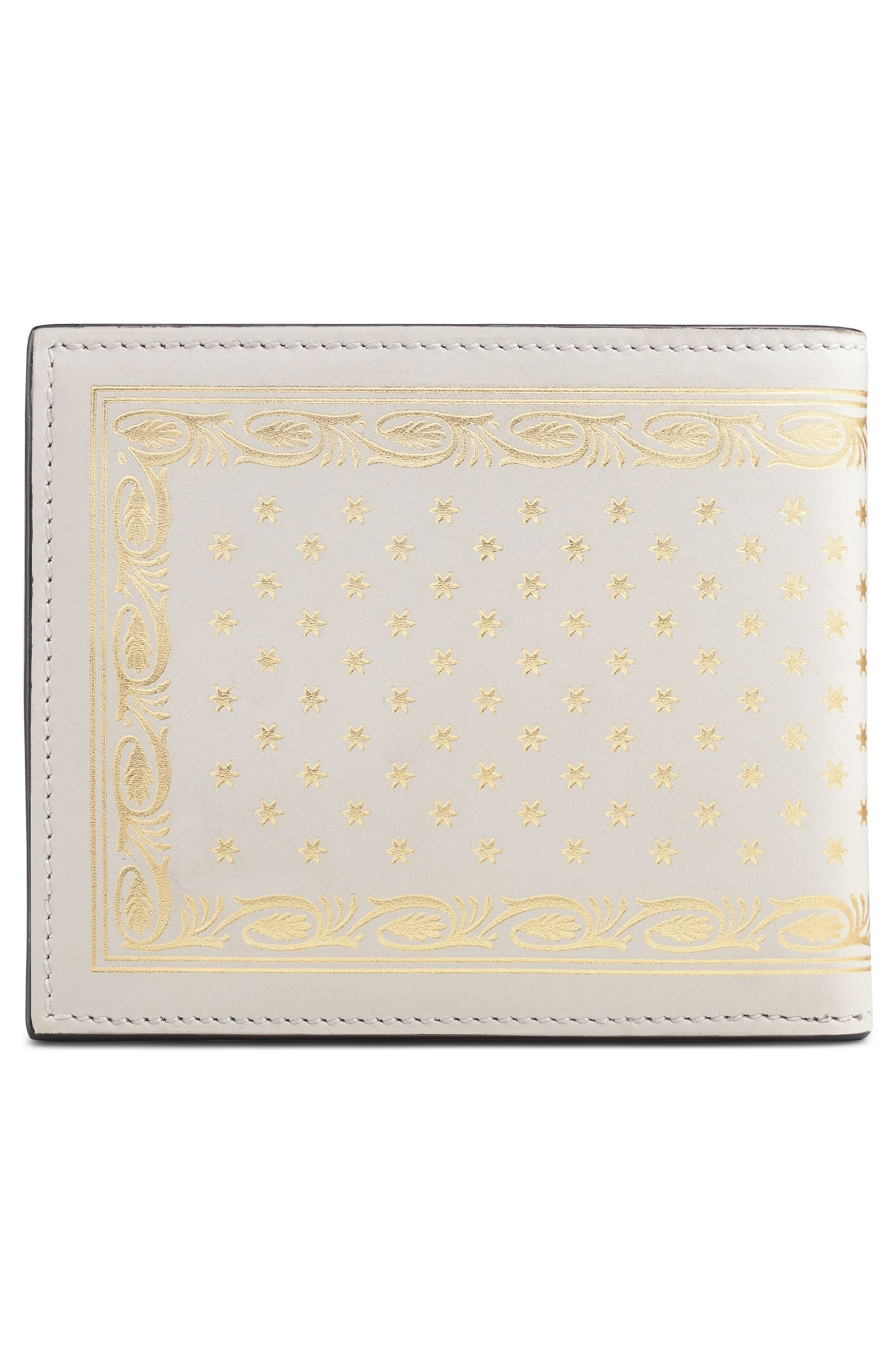 Guccy Print Leather Wallet,                             Alternate thumbnail 3, color,                             White/ Gold