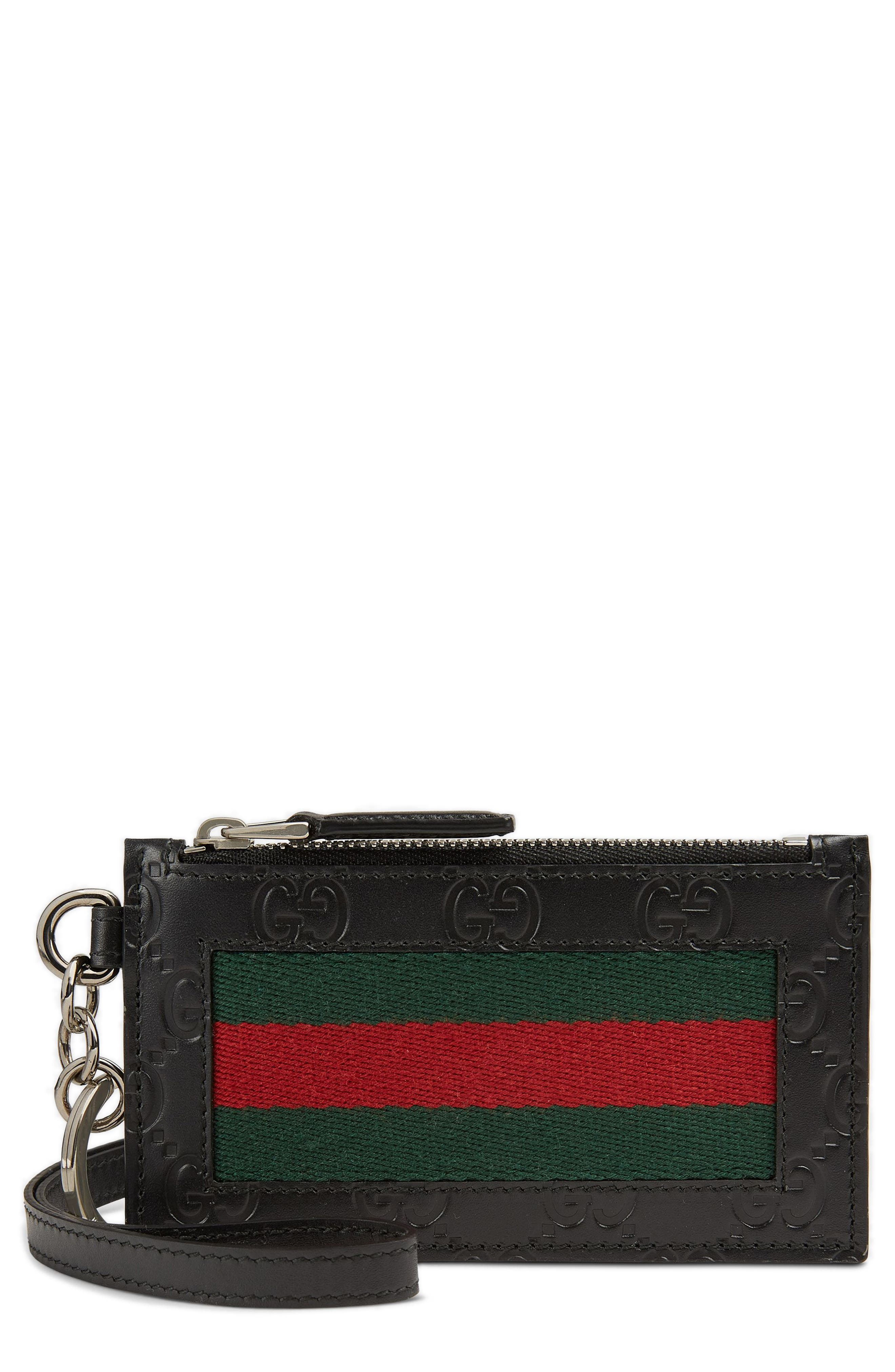 Gucci Signature Leather Lanyard Card Case