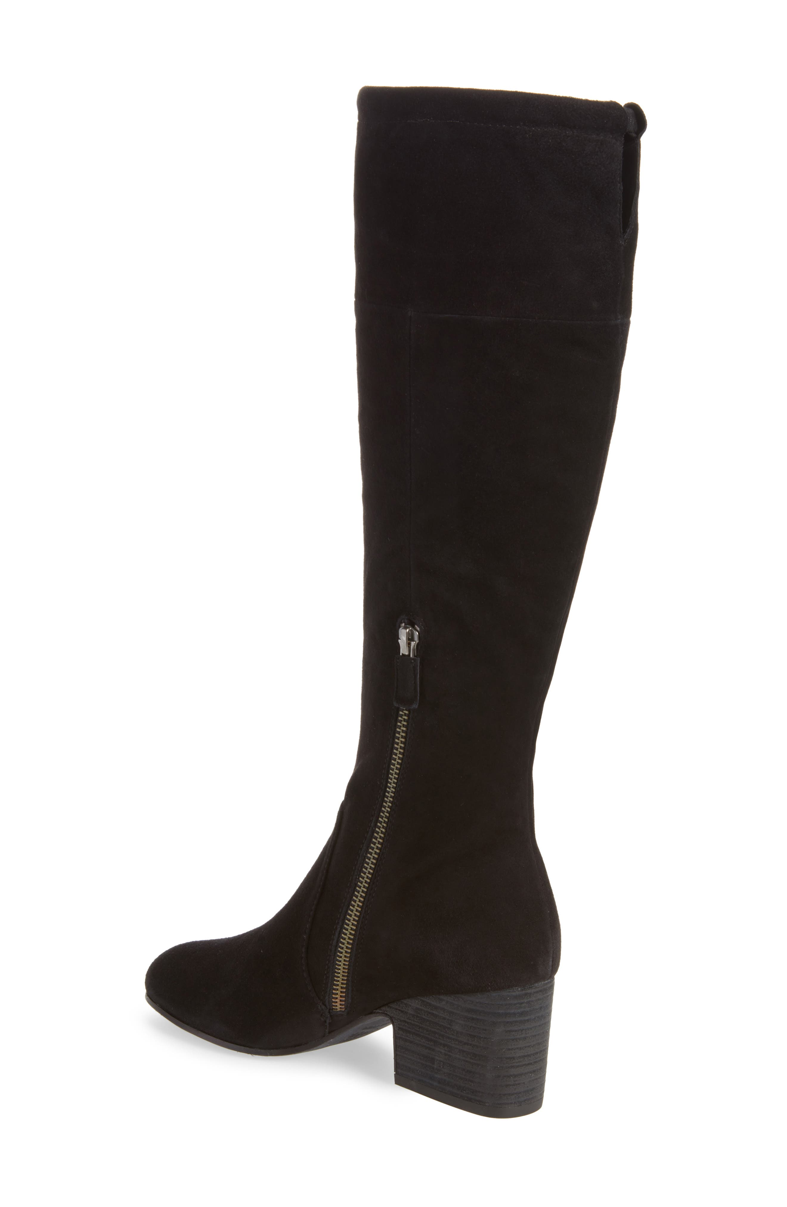 Knee High Boot,                             Alternate thumbnail 2, color,                             Black Suede