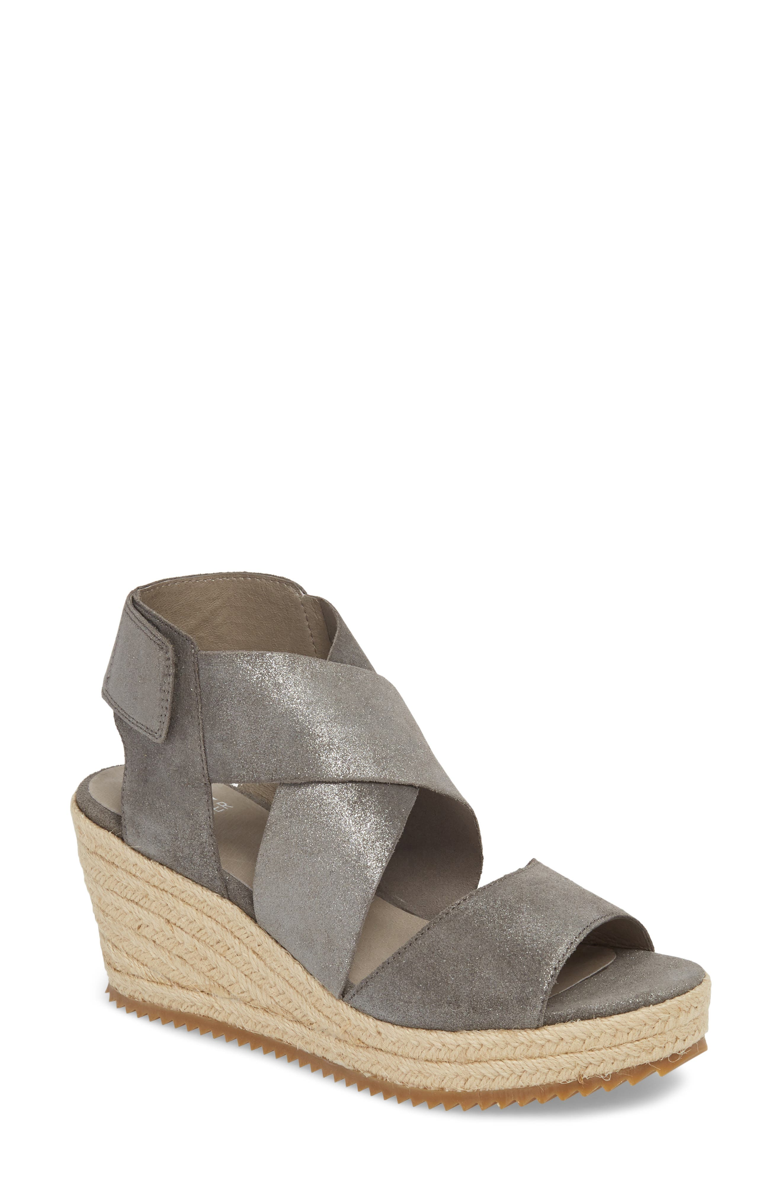 'Willow' Espadrille Wedge Sandal,                             Main thumbnail 1, color,                             Pewter Metallic Suede