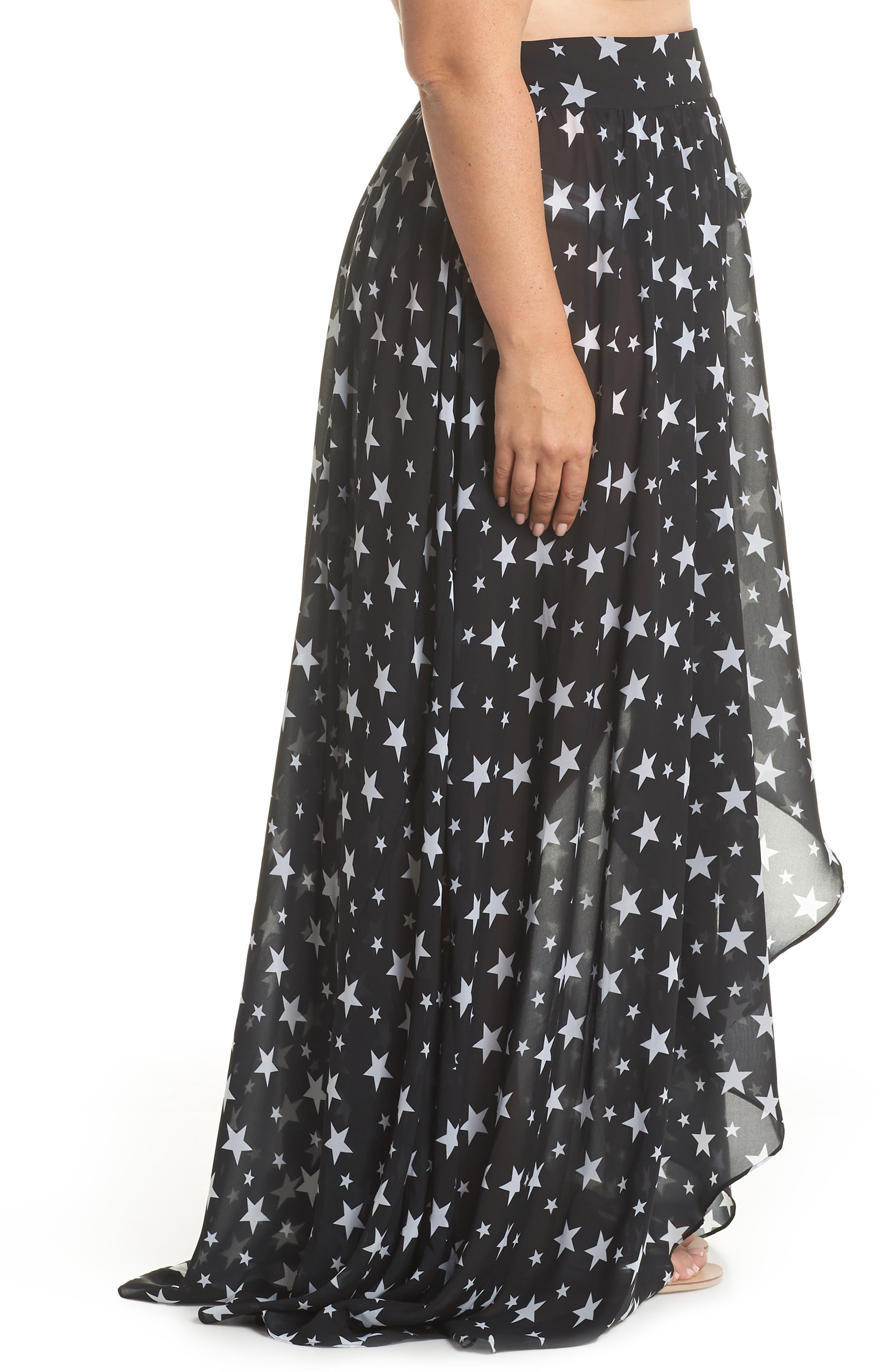 Cannes Cover-Up Skirt,                             Alternate thumbnail 3, color,                             Black Star