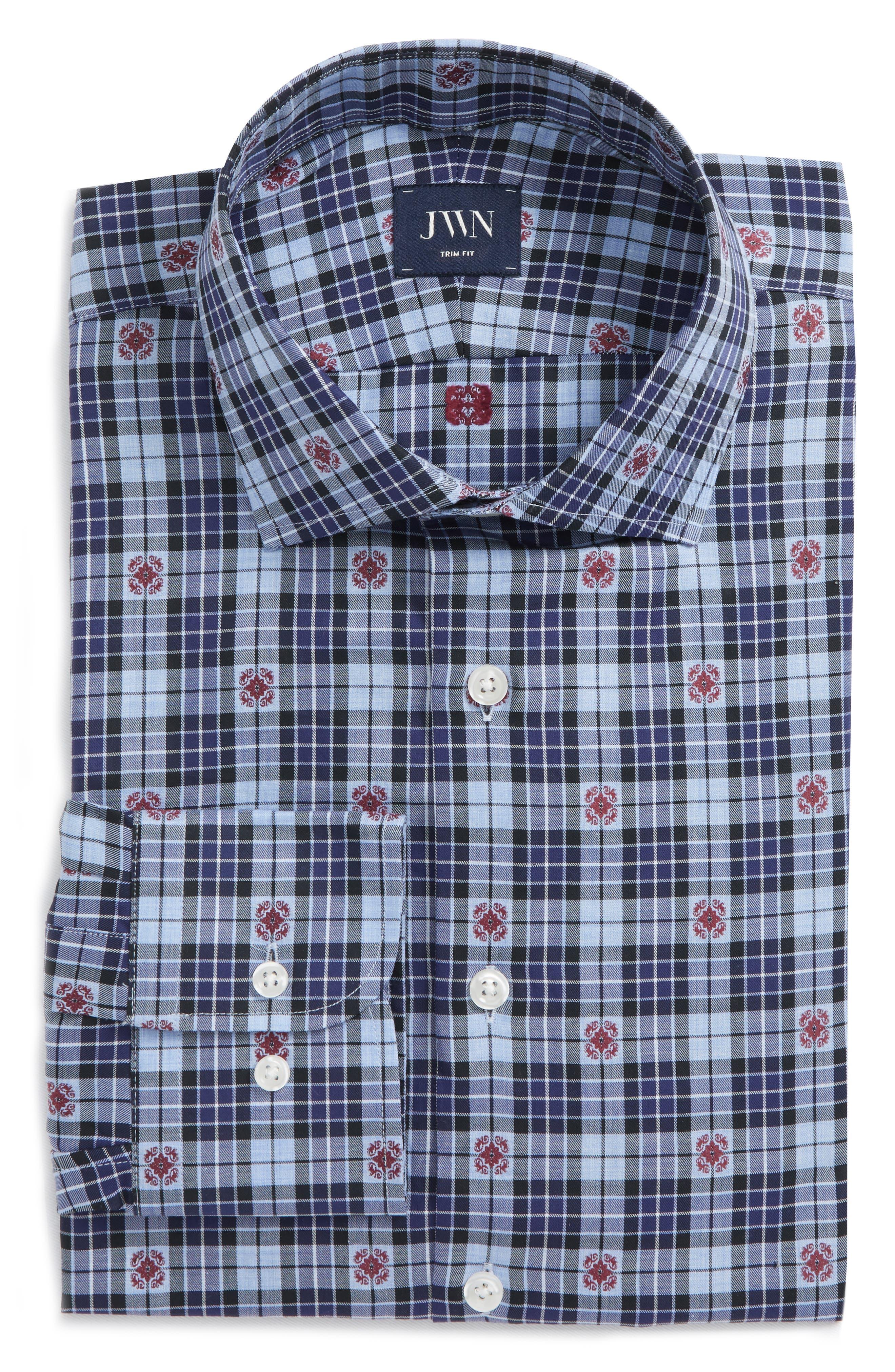 Trim Fit Plaid Dress Shirt,                             Alternate thumbnail 6, color,                             Navy Dress