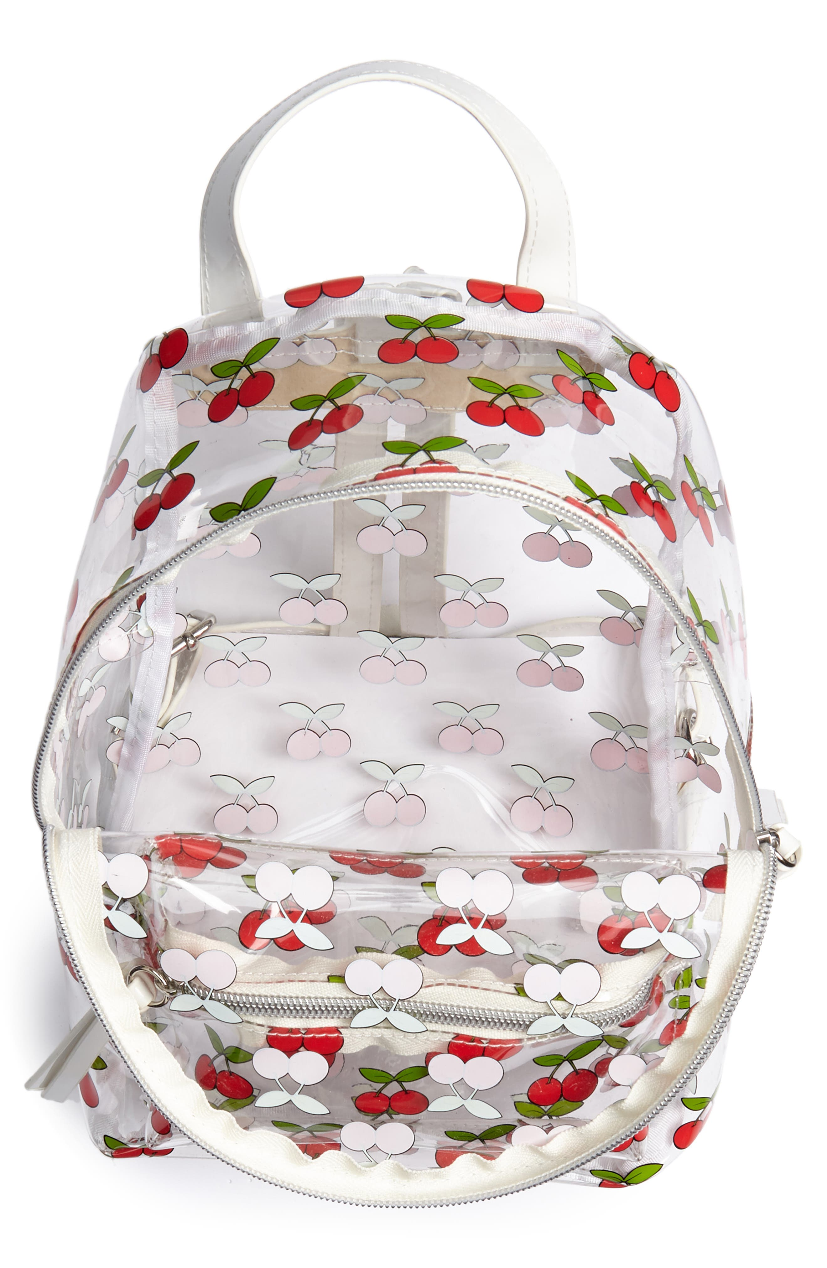 Transparent Cherry Print Mini Convertible Backpack,                             Alternate thumbnail 4, color,                             Clear/ Red