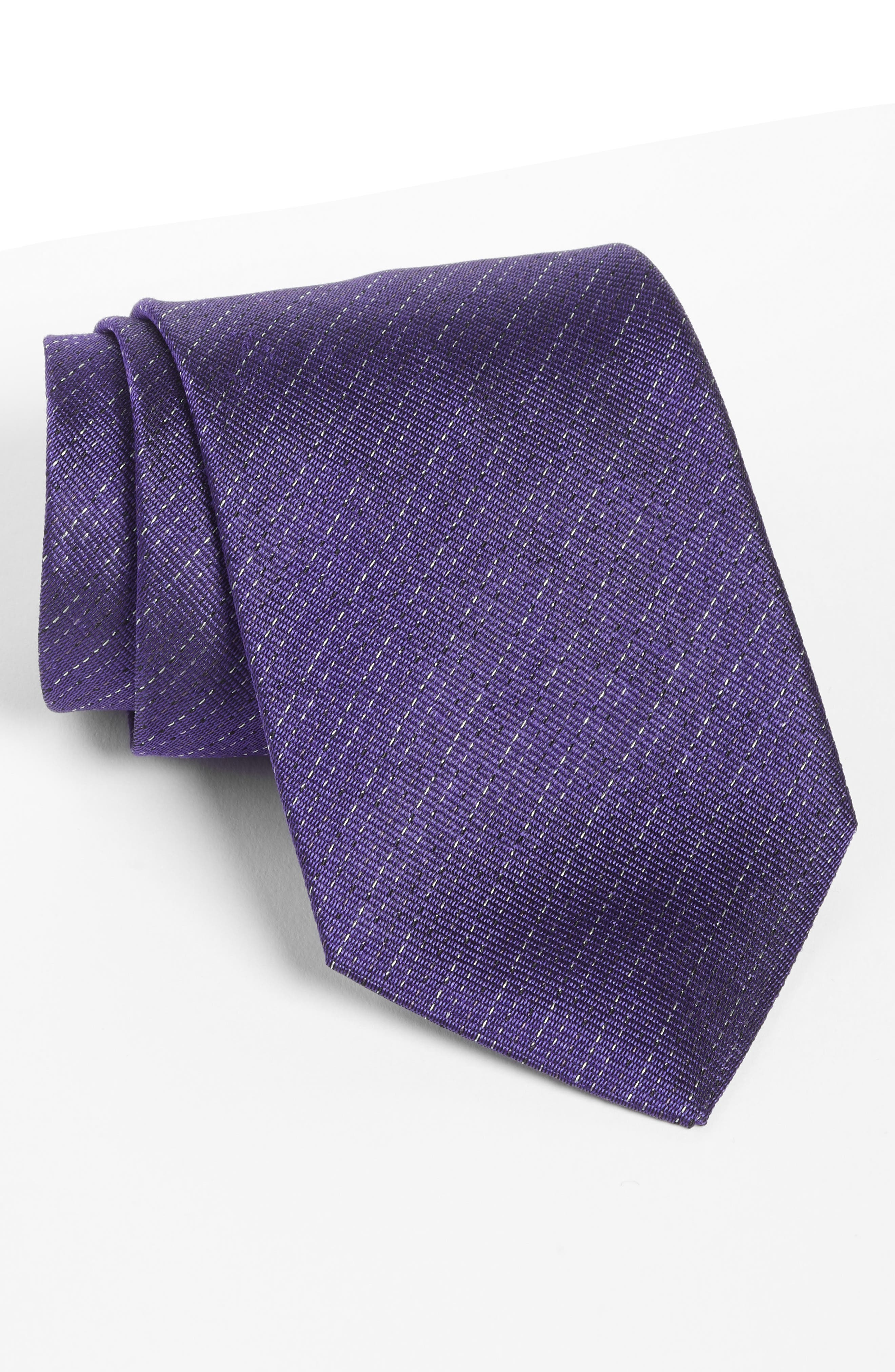 Stripe Silk Tie,                             Main thumbnail 1, color,                             Purple