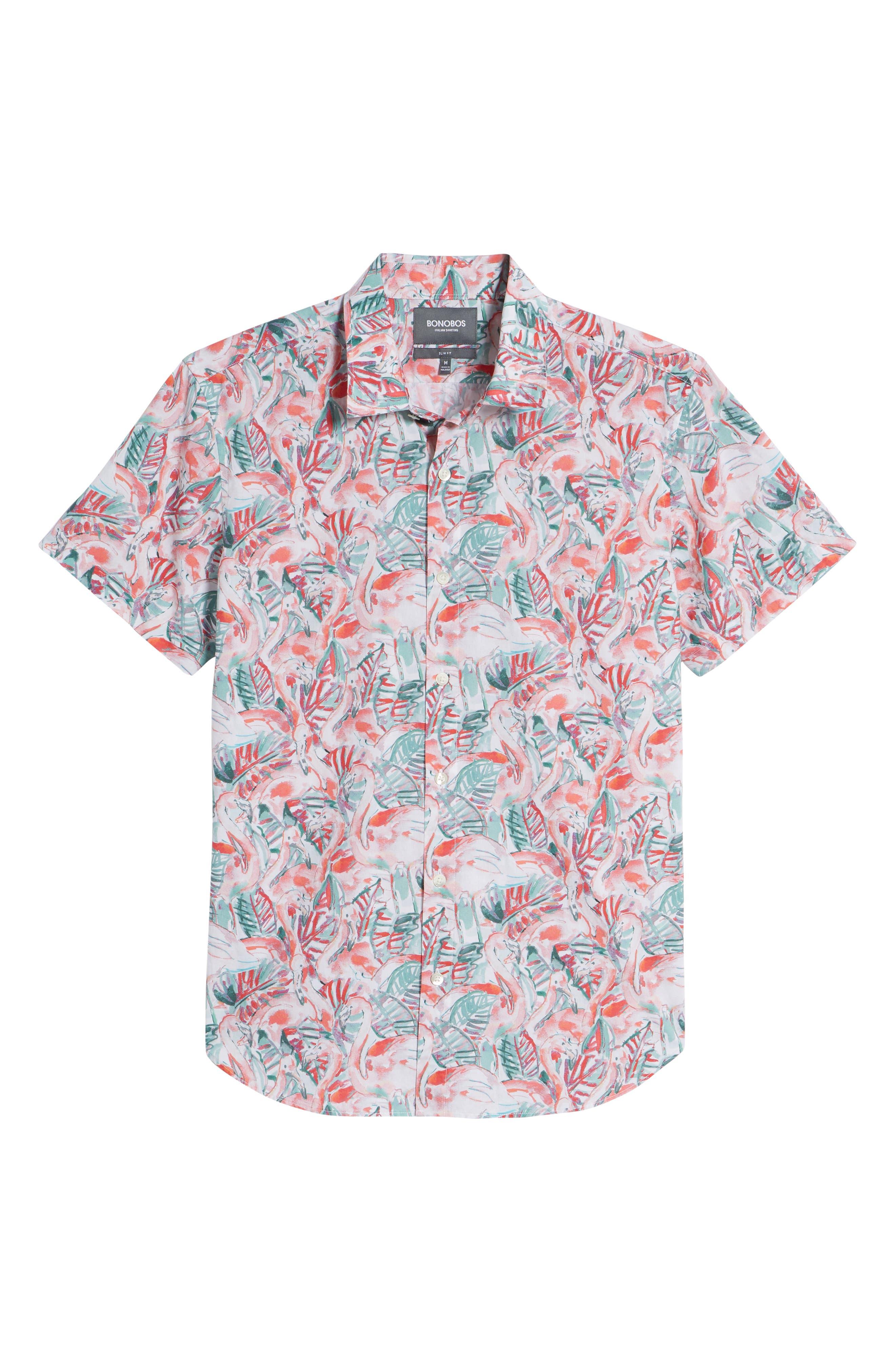Slim Fit Print Premium Sport Shirt,                             Alternate thumbnail 6, color,                             Painterly Flamingo - Coral Fan