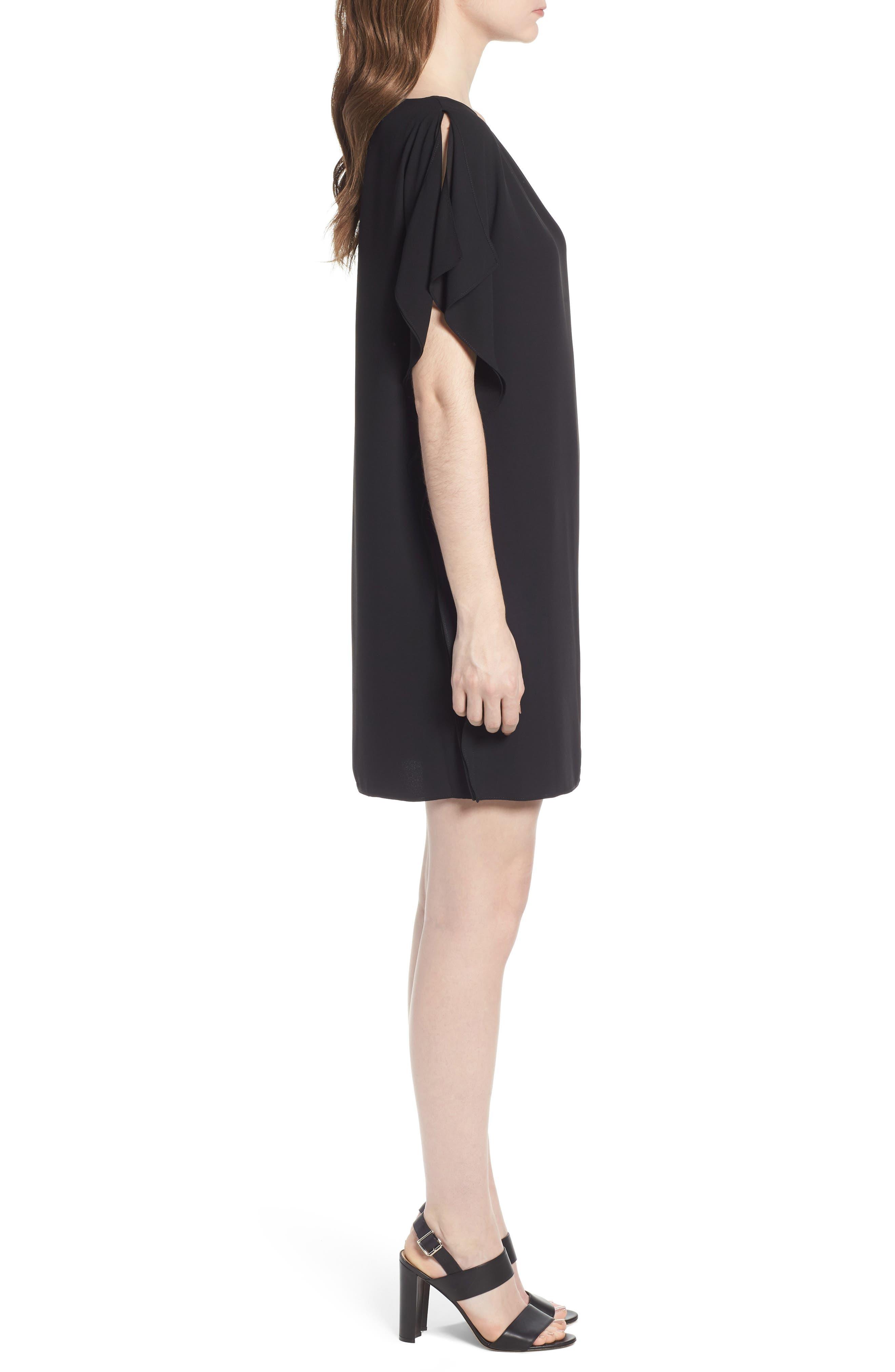 Flutter Sleeve Dress,                             Alternate thumbnail 3, color,                             Black