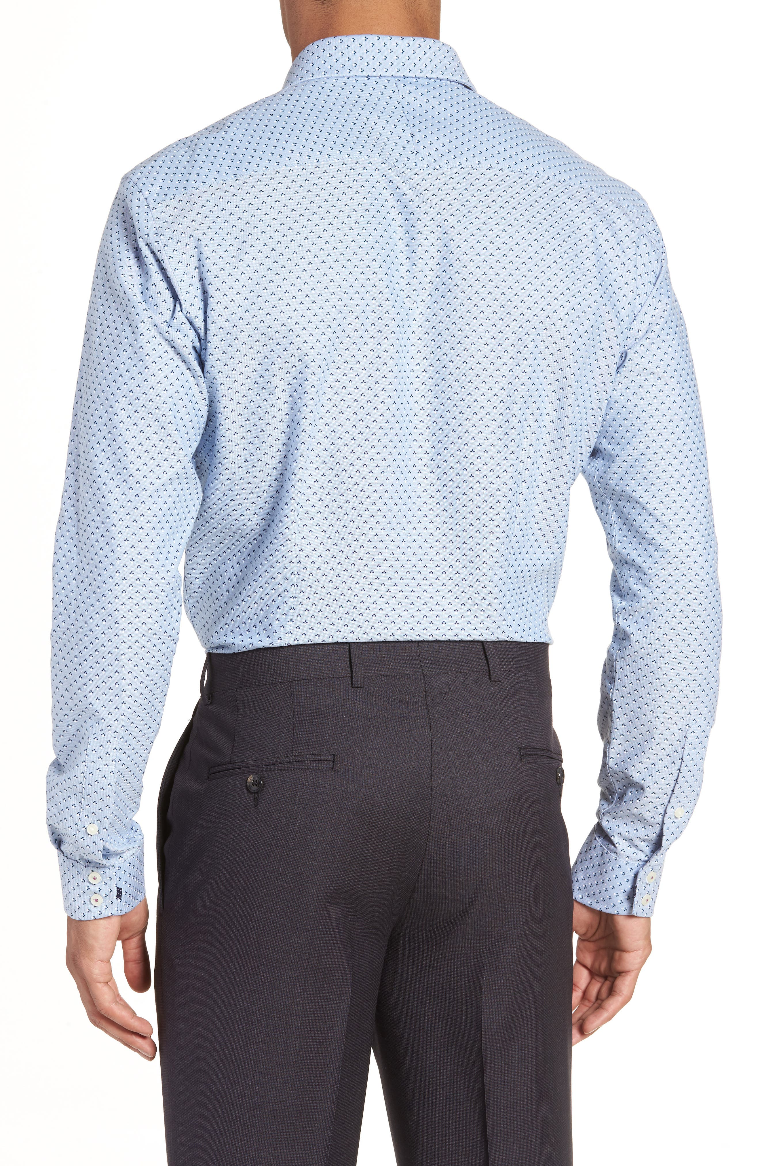 Forestr Trim Fit Geometric Dress Shirt,                             Alternate thumbnail 3, color,                             Blue
