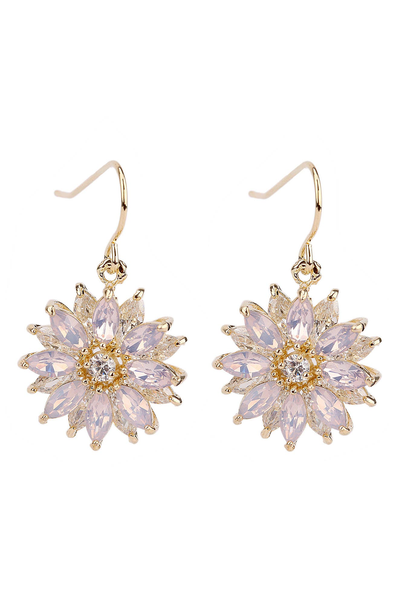Layered Floral Drop Earrings,                             Main thumbnail 1, color,                             Pink Opal/ Gold