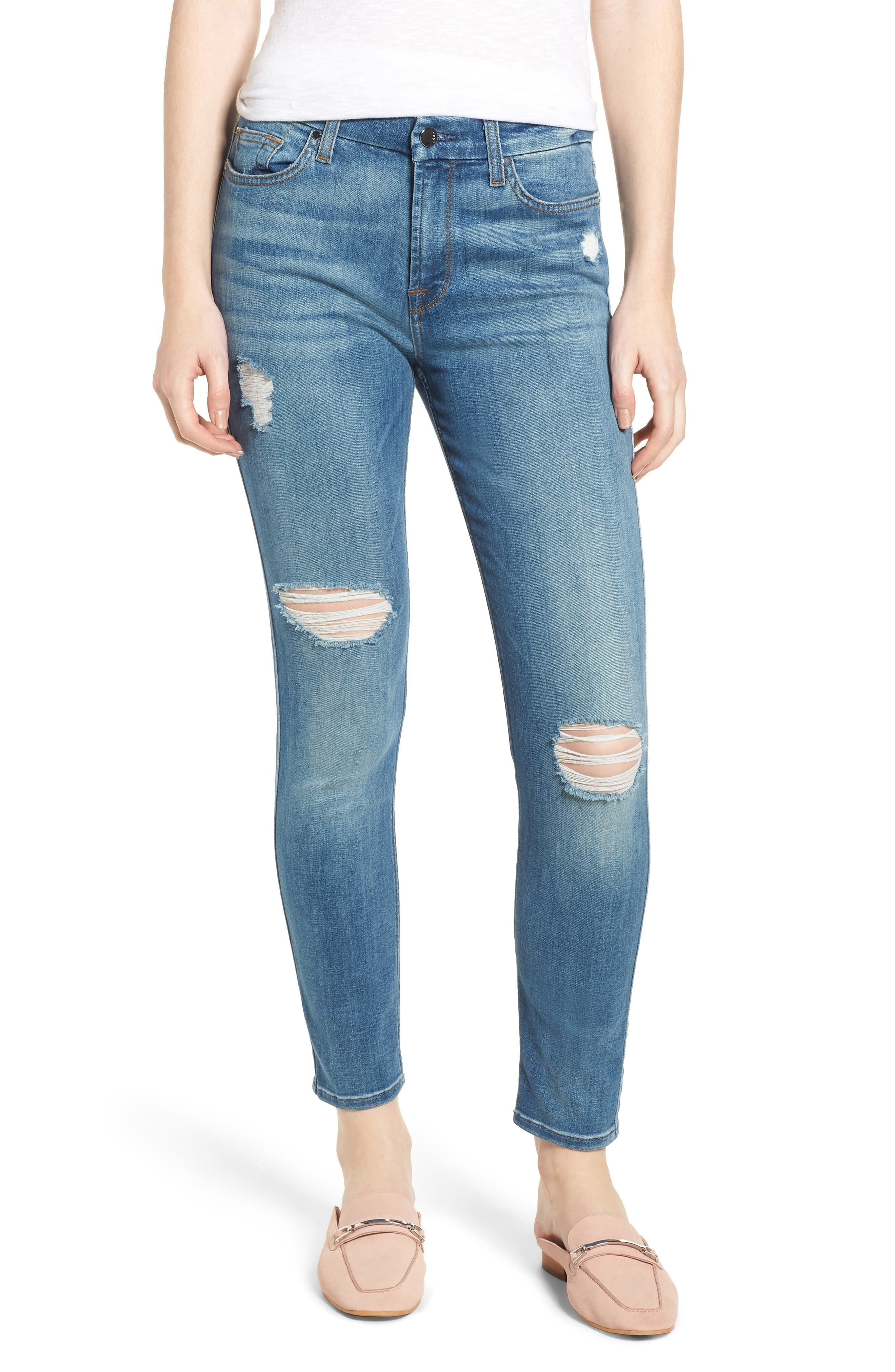 Ripped Ankle Skinny Jeans,                             Main thumbnail 1, color,                             Symphony Blue