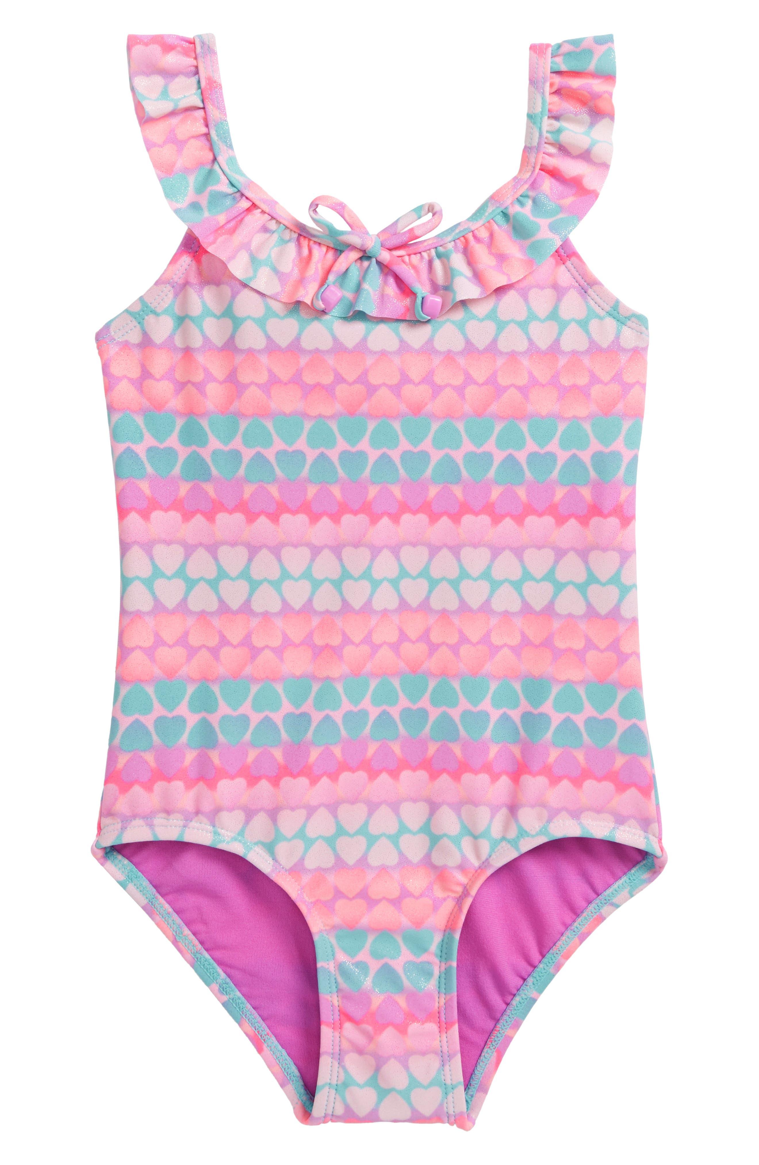Hearts Galore One-Piece Swimsuit,                         Main,                         color, Purple Multi