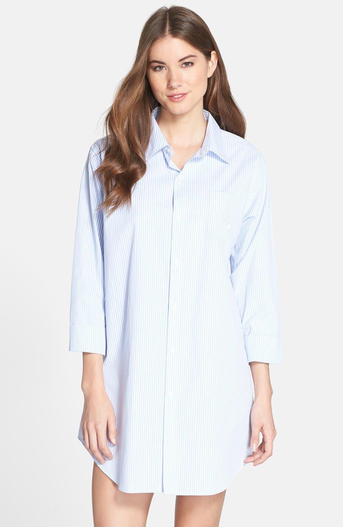 Main Image - Lauren Ralph Lauren Cotton Poplin Sleep Shirt
