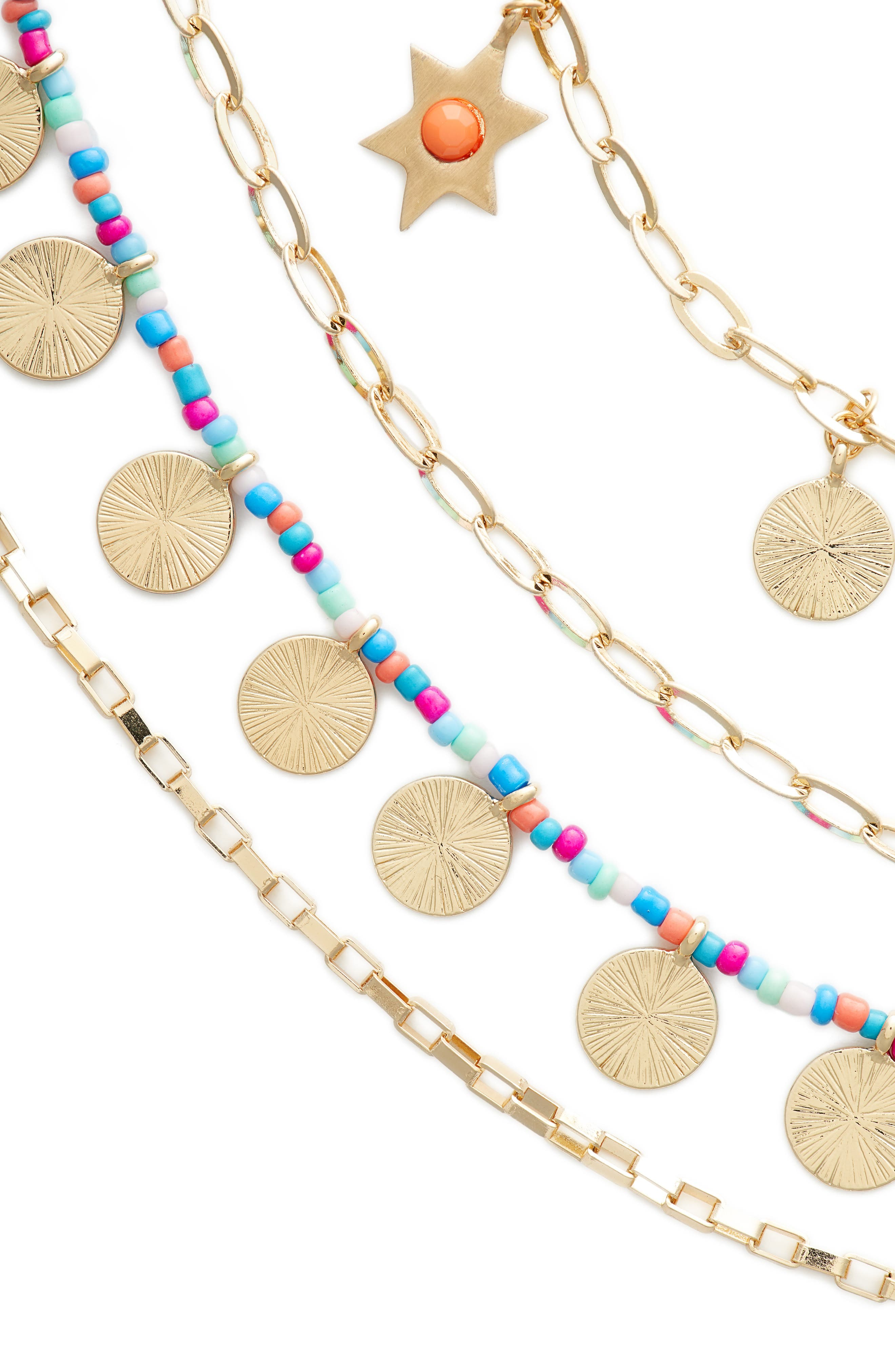 Sole Charm Statement Multistrand Necklace,                             Alternate thumbnail 2, color,                             Bright Multi/ Gold