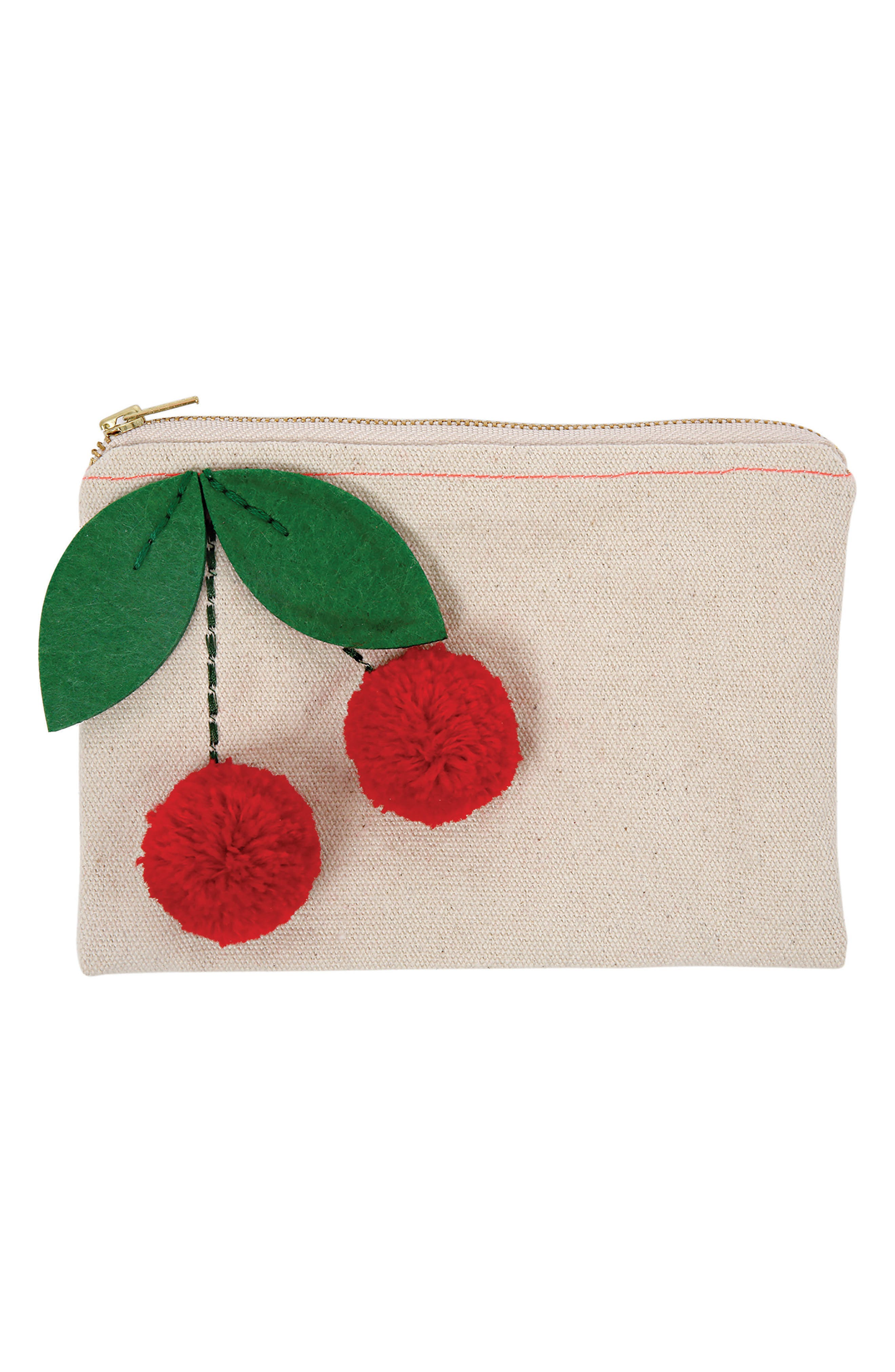 Mer Meri Pompom Cherry Canvas Pouch (Girls)