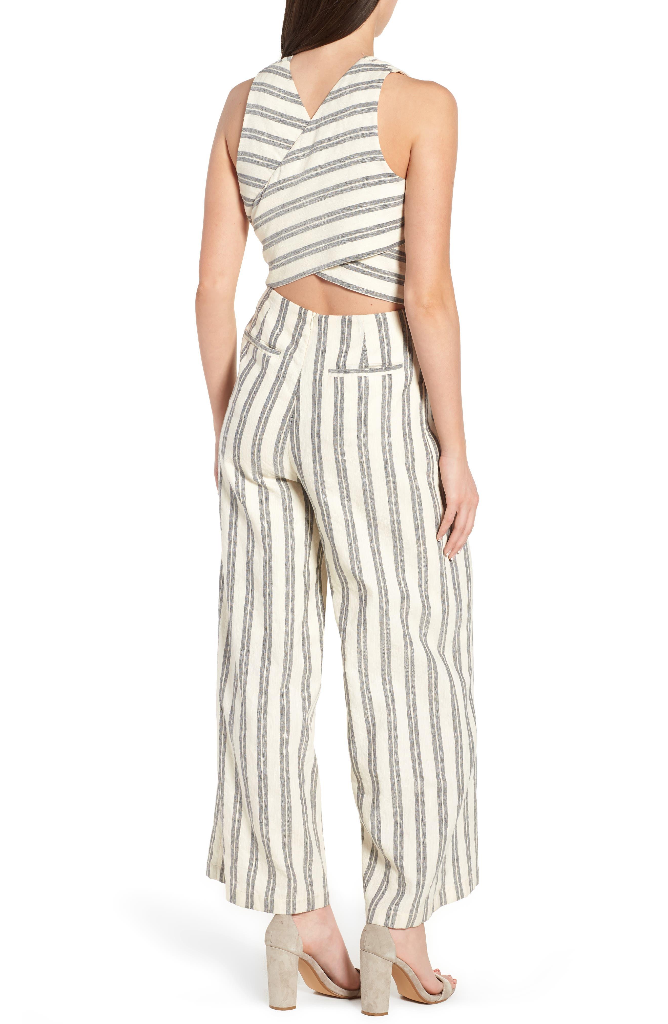Marley Stripe Jumpsuit,                             Alternate thumbnail 2, color,                             White Multi