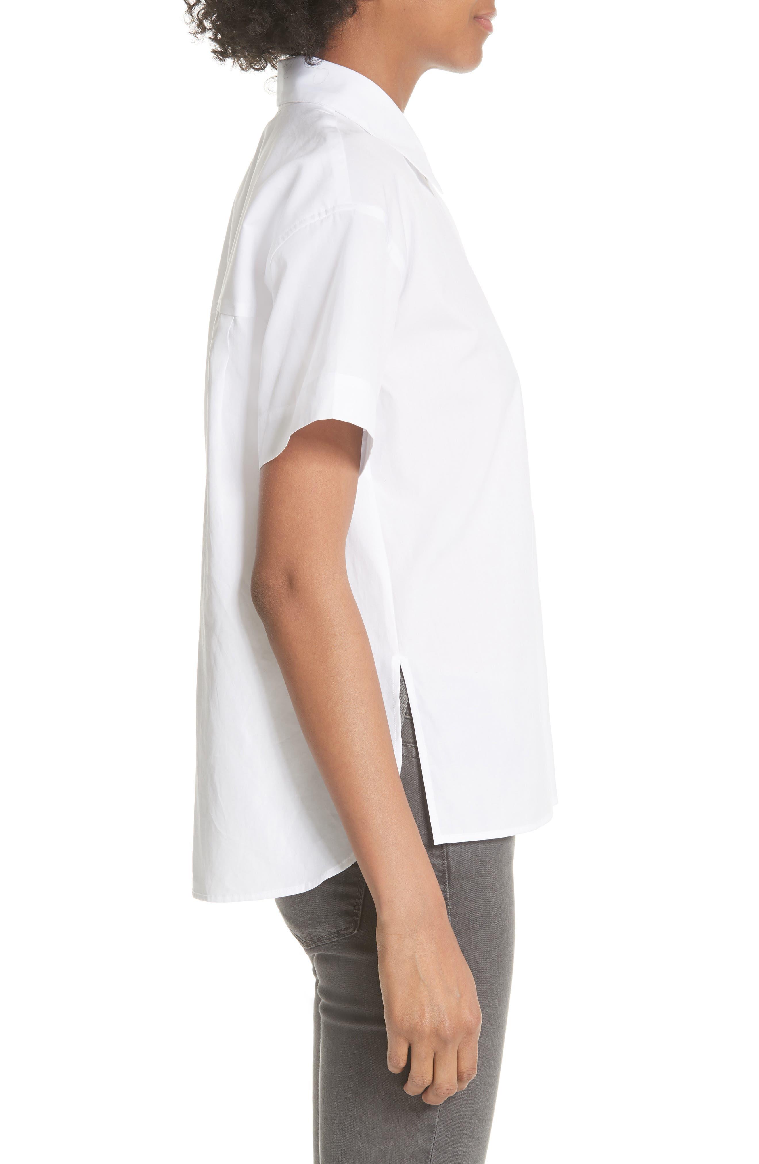 Short Sleeve Cotton Shirt,                             Alternate thumbnail 3, color,                             Optic White