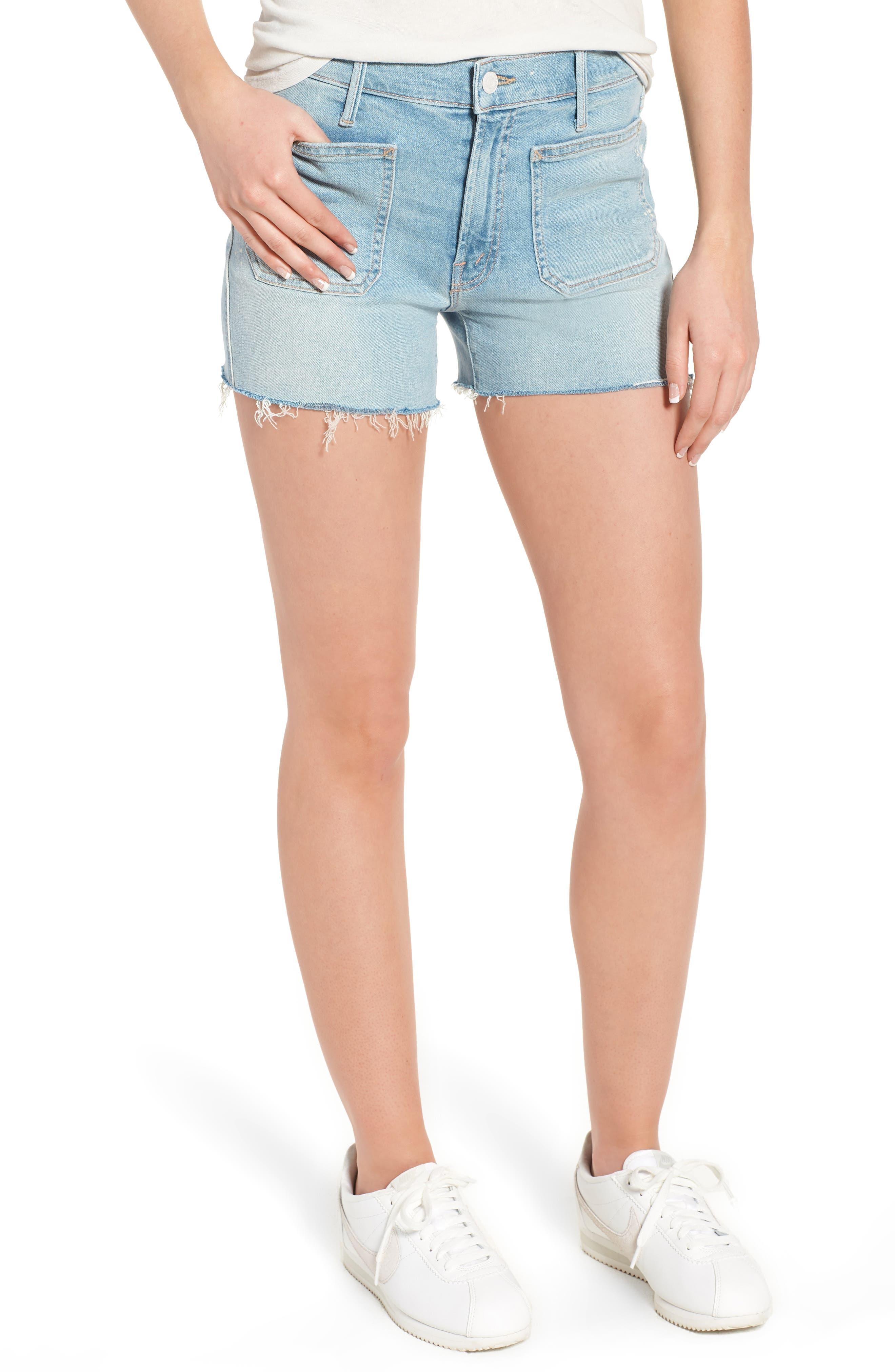 The Patchie Denim Shorts,                         Main,                         color, Nice Shot