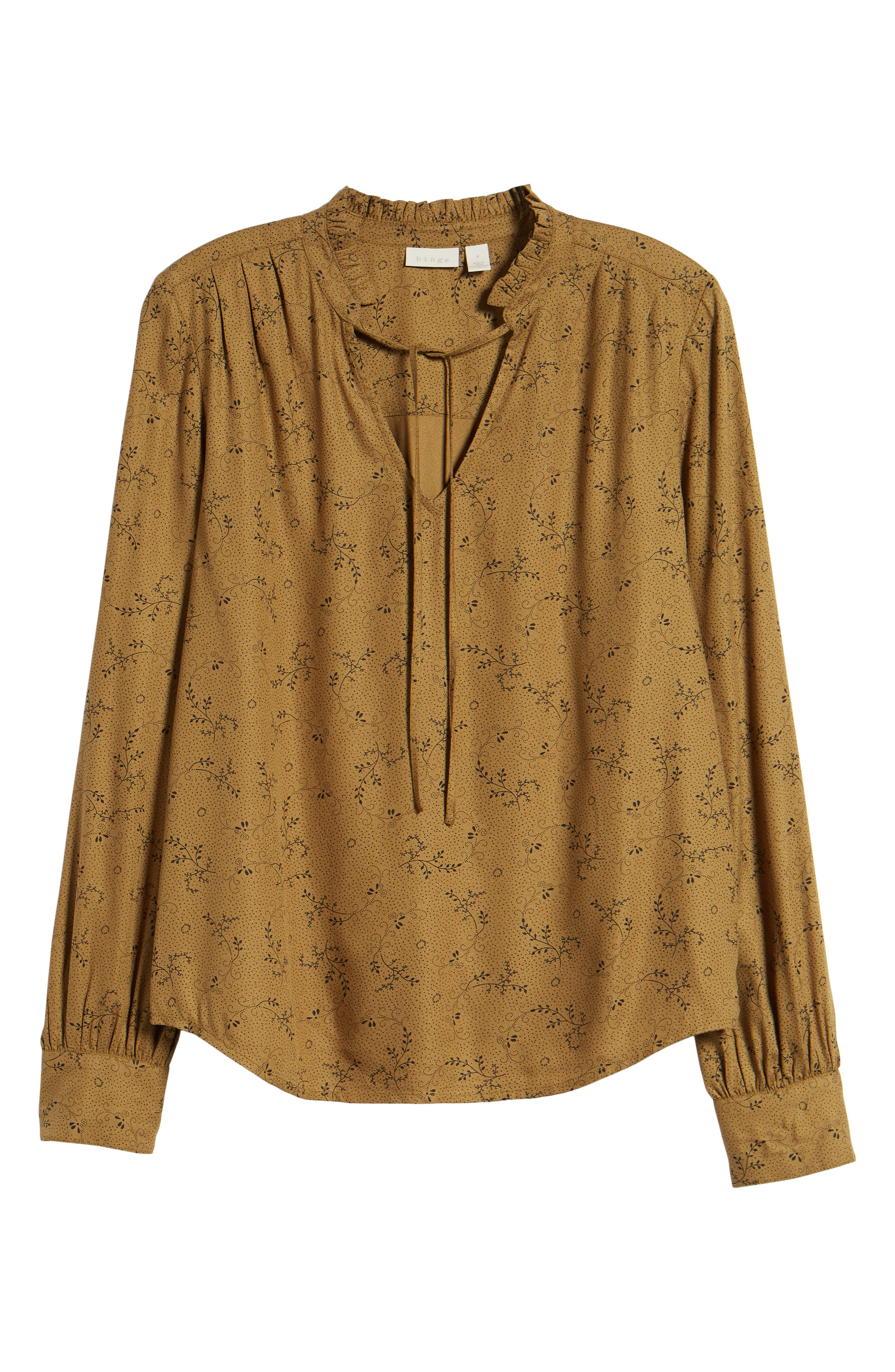 Ruffle V-Neck Blouse,                             Alternate thumbnail 7, color,                             Olive Breen Dotted Sprigs