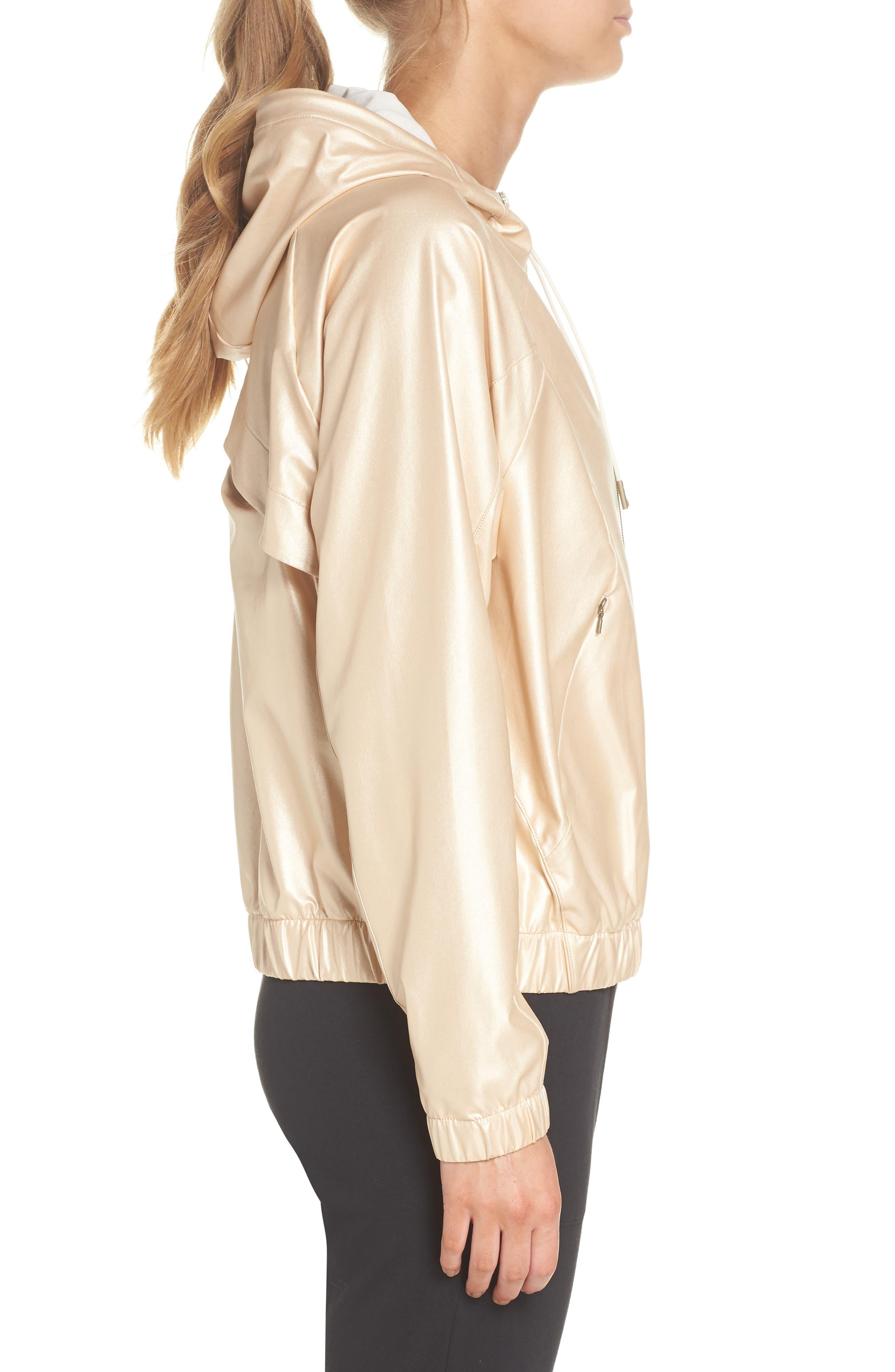 Style Game Shine Hooded Jacket,                             Alternate thumbnail 4, color,                             Metallic Oro