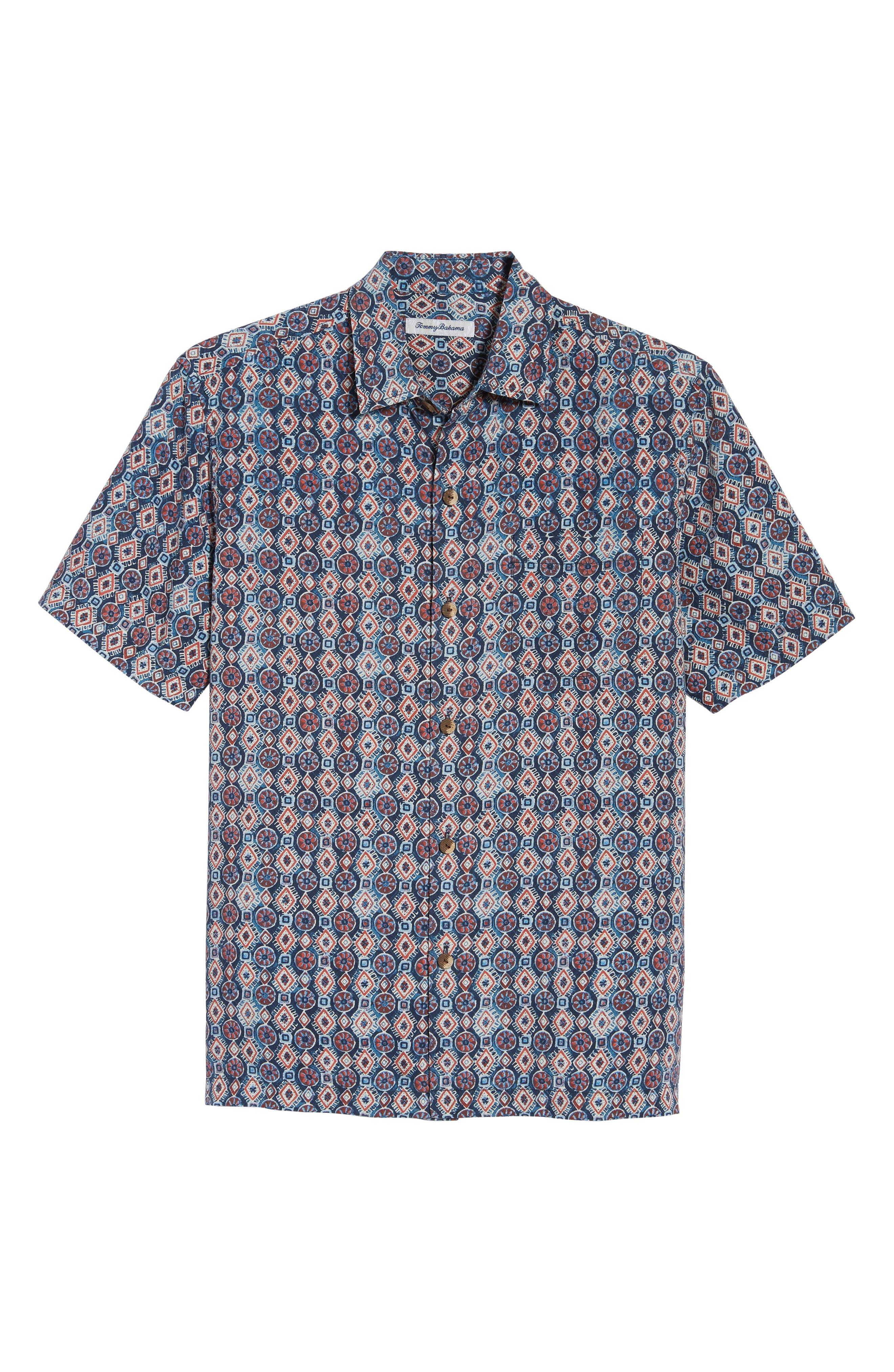 Tulum Tiles Silk Camp Shirt,                             Alternate thumbnail 6, color,                             Ocean Deep