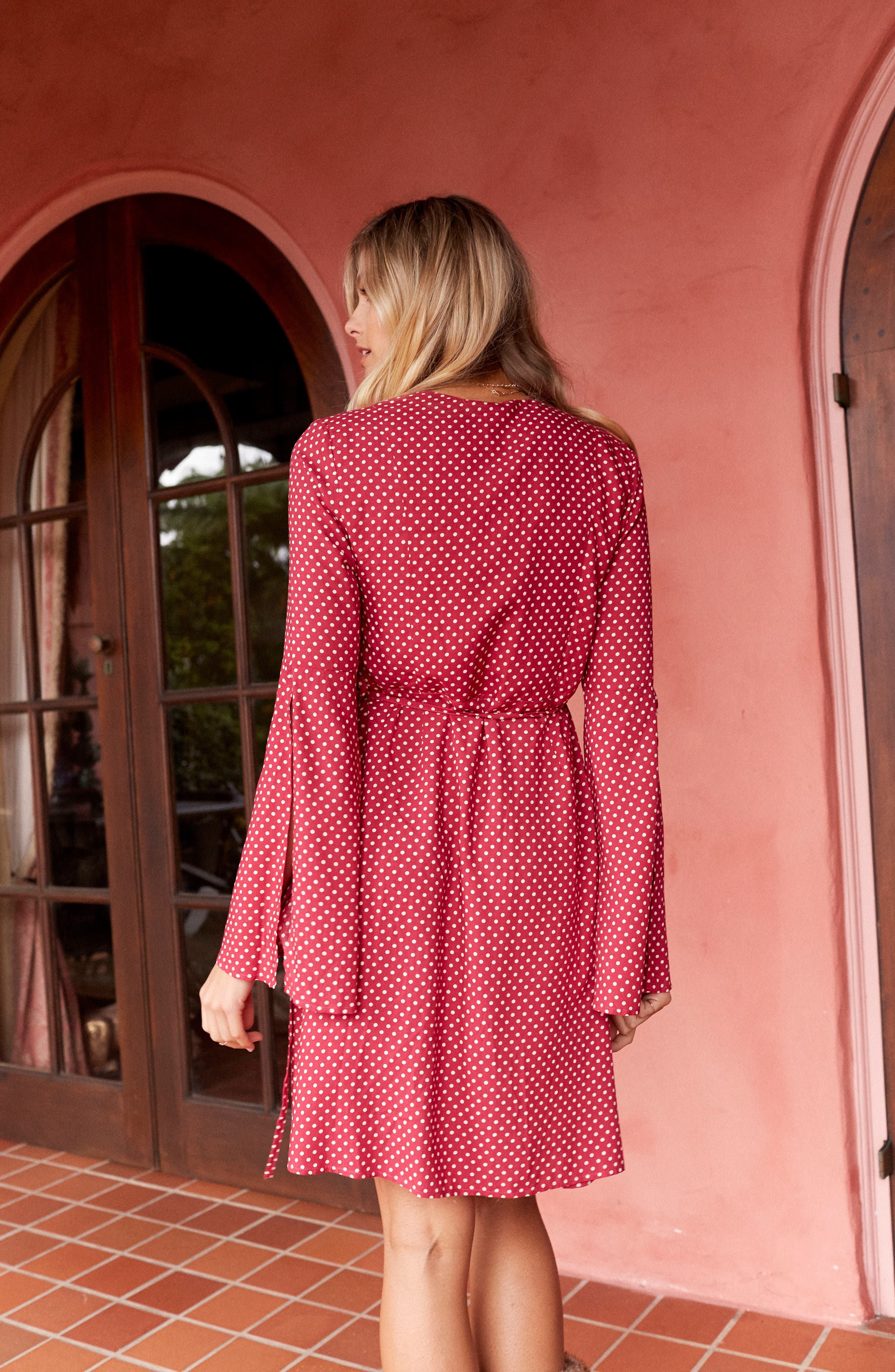 Fearless Polka Dot Wrap Dress,                             Alternate thumbnail 8, color,                             Multi Red