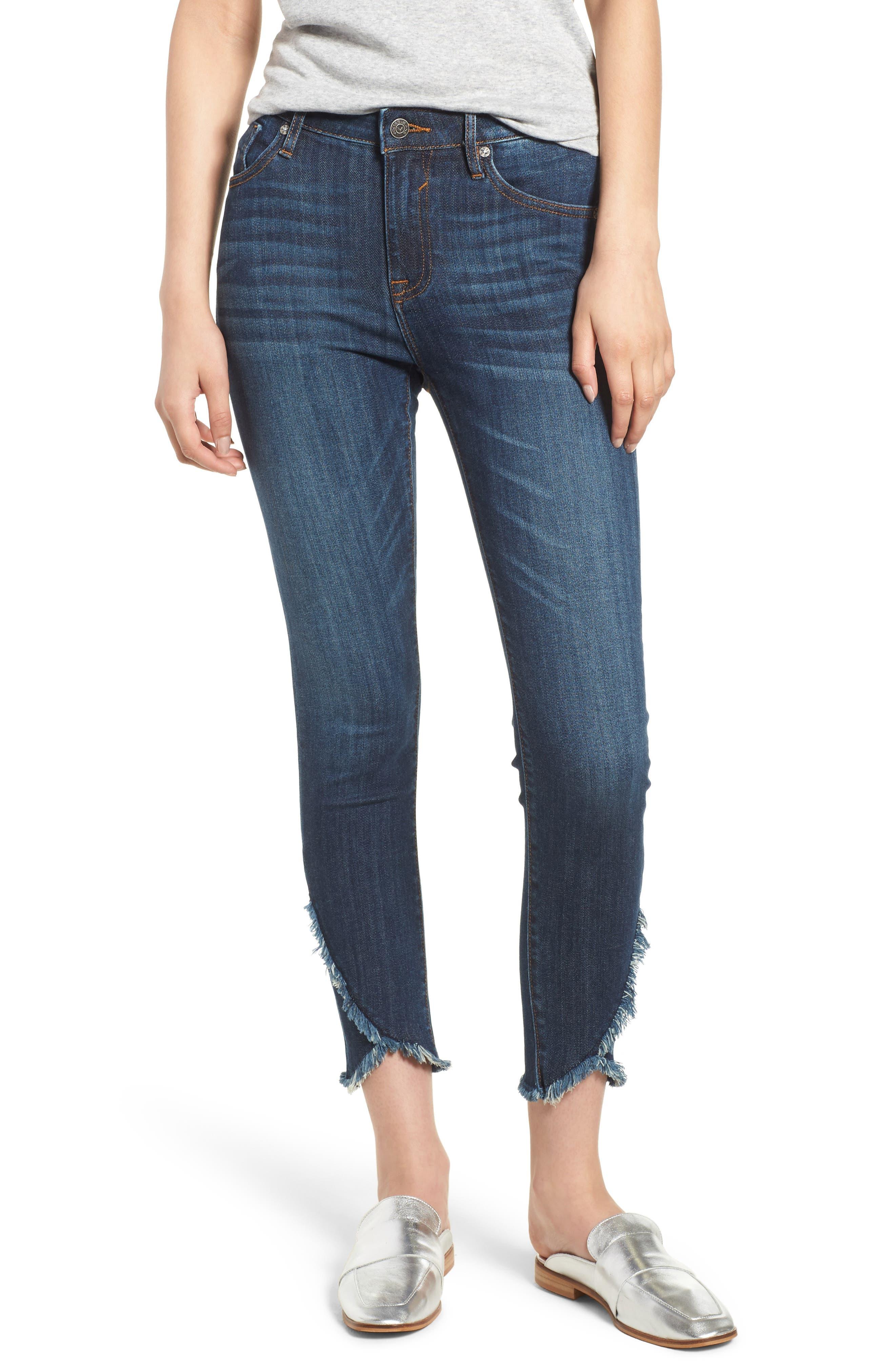Asymmetrical Fray Hem Skinny Jeans,                             Main thumbnail 1, color,                             Dark Wash