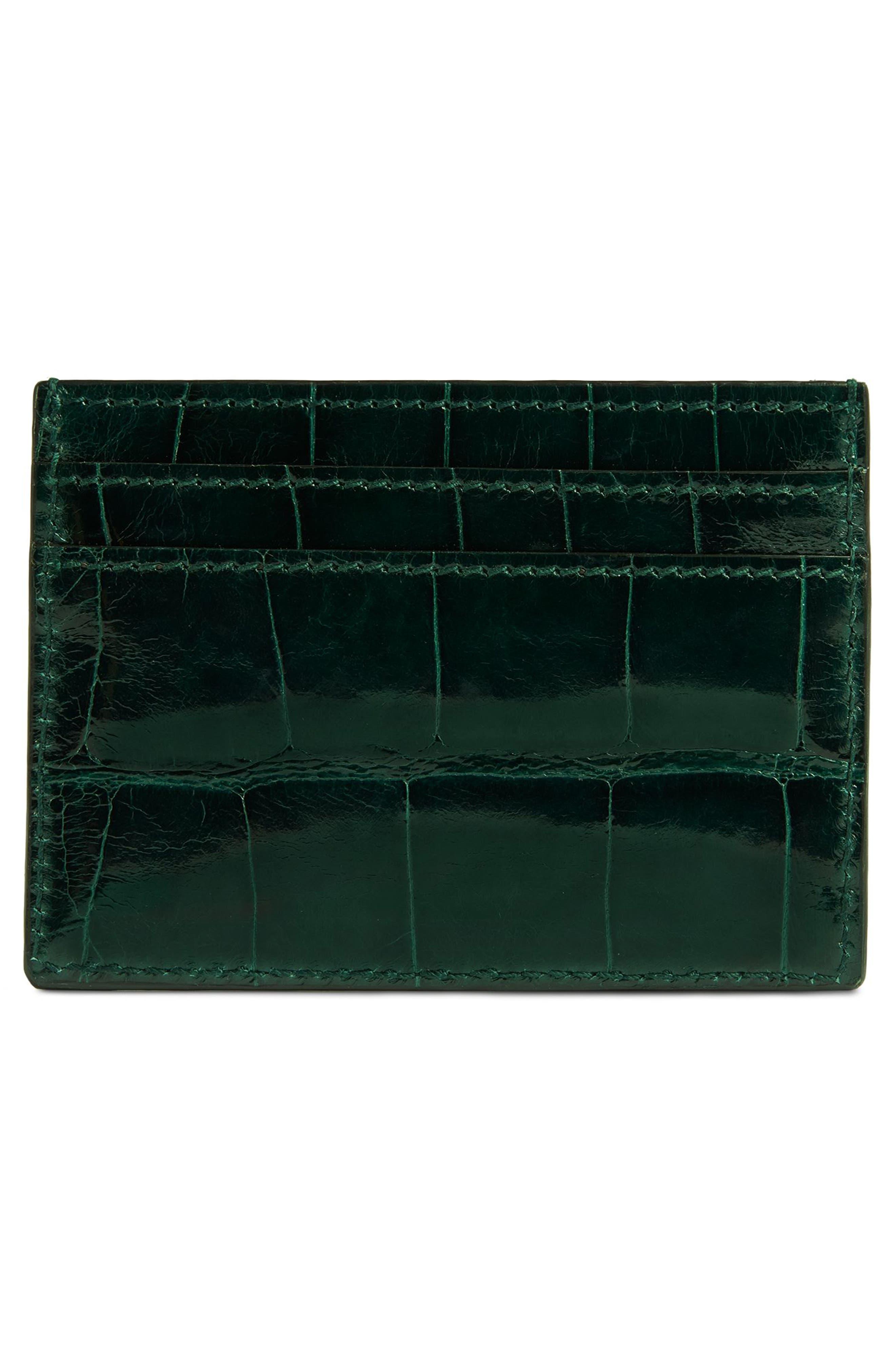 Ophidia Genuine Crocodile Card Case,                             Alternate thumbnail 3, color,                             Verde
