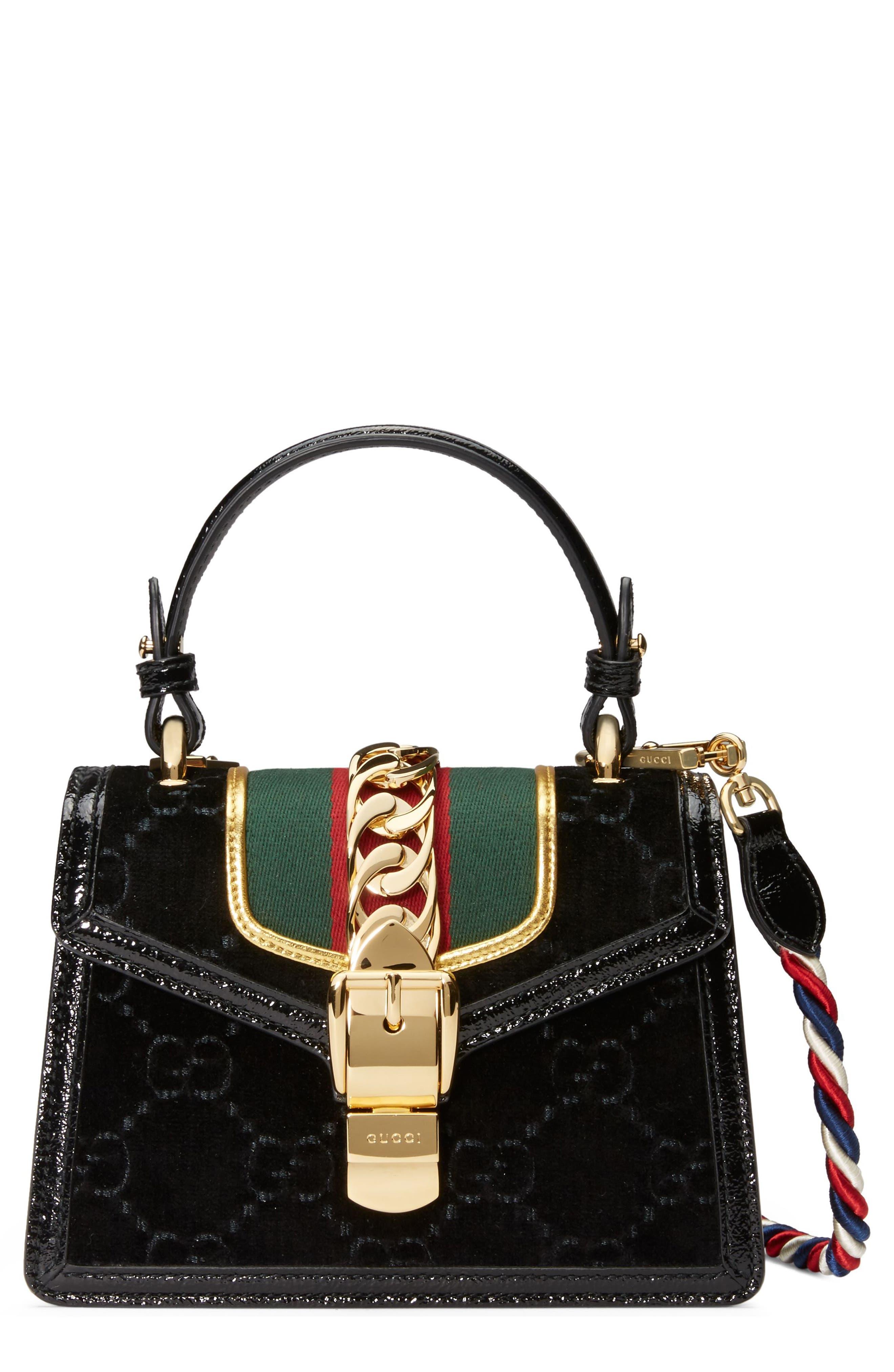Mini Sylvie Velvet Top Handle Bag,                             Main thumbnail 1, color,                             Nero/ Vert Red/ Mystic White