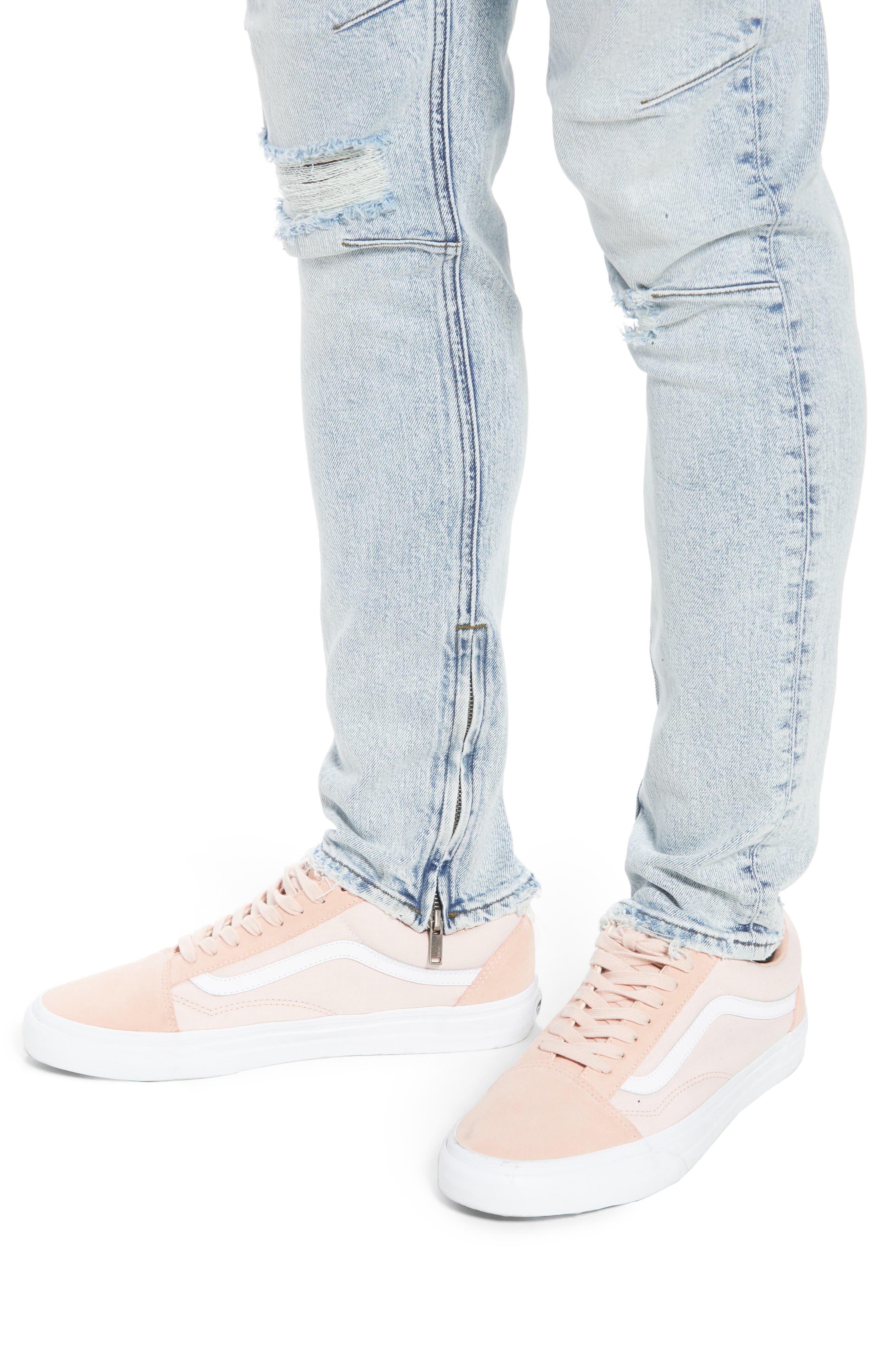 Vaughn Biker Skinny Fit Jeans,                             Alternate thumbnail 4, color,                             Echo Park