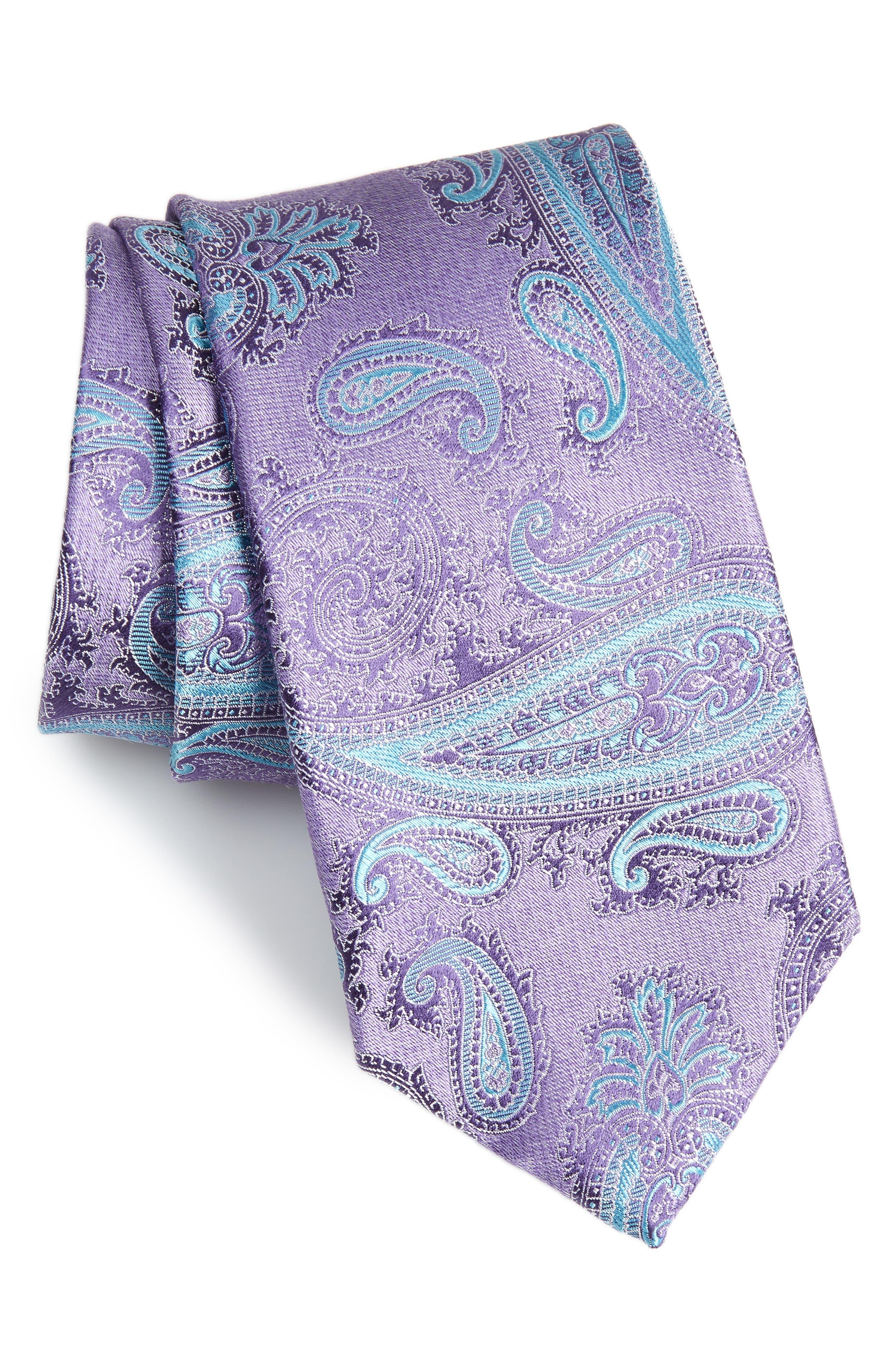 Kline Paisley Tie,                             Main thumbnail 1, color,                             Purple