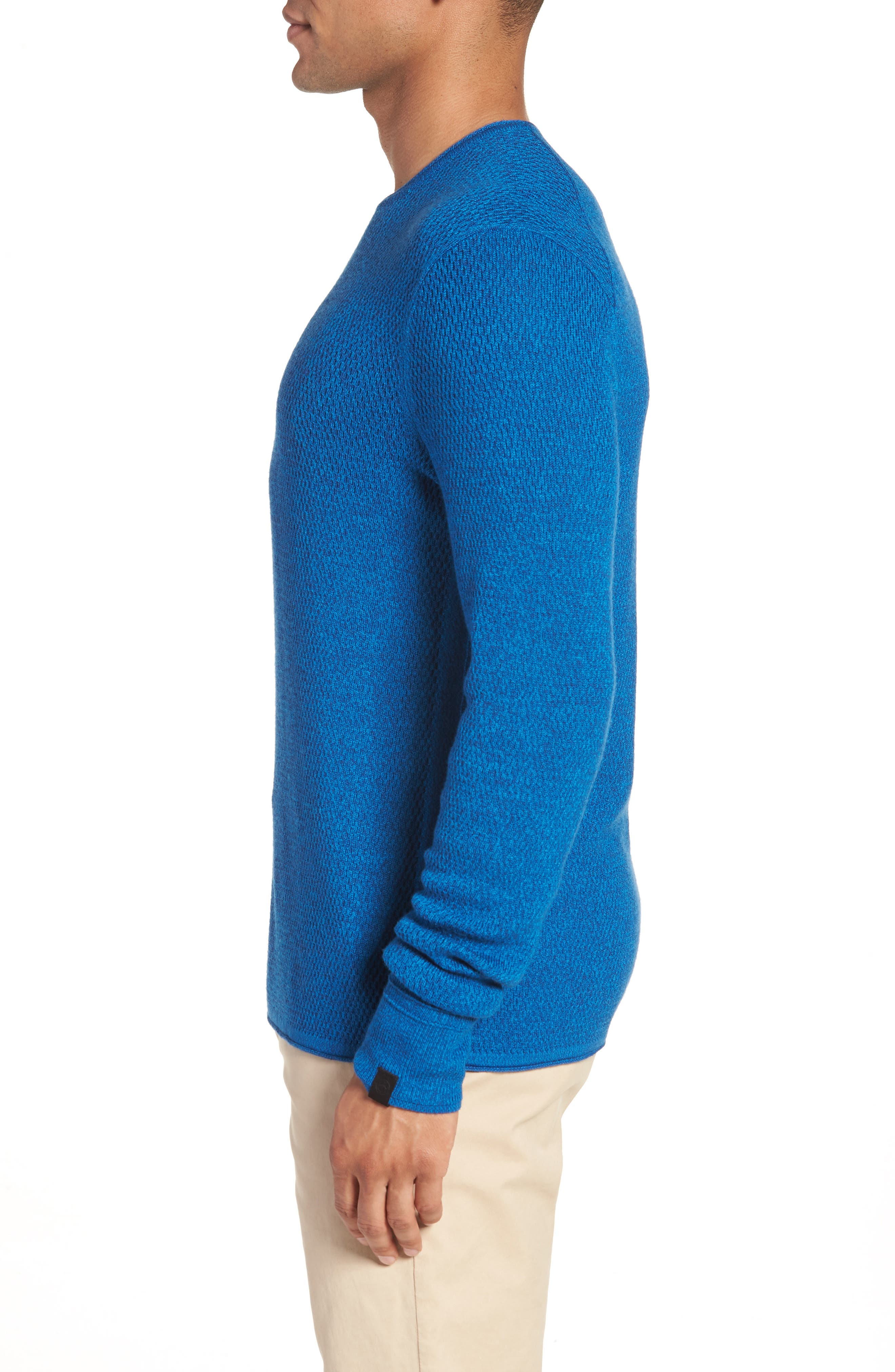 Gregory Wool Blend Crewneck Sweater,                             Alternate thumbnail 3, color,                             Bright Blue