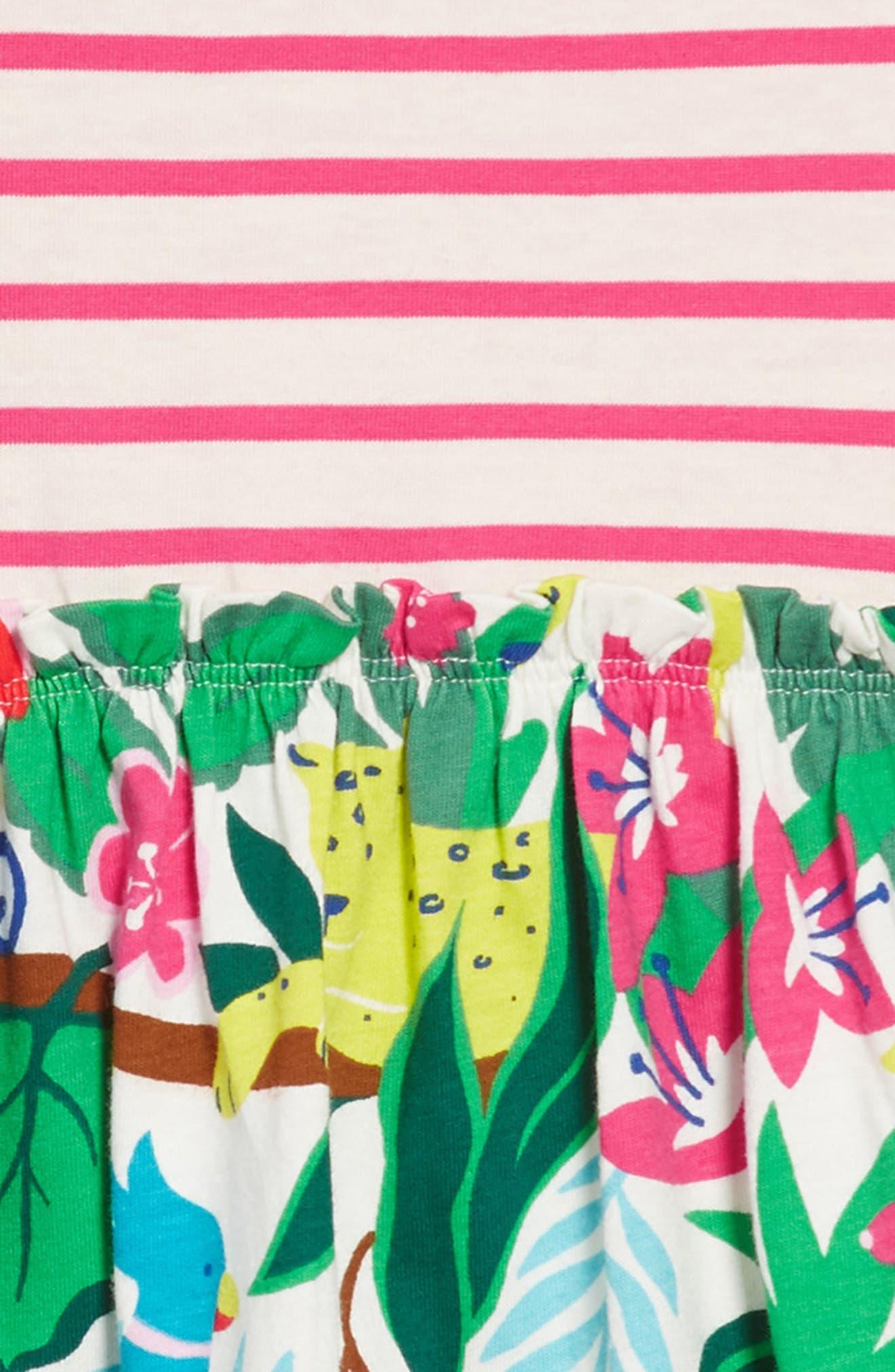 Bright Hotchpotch Jersey Dress,                             Alternate thumbnail 3, color,                             Ecru Jungle Jumble