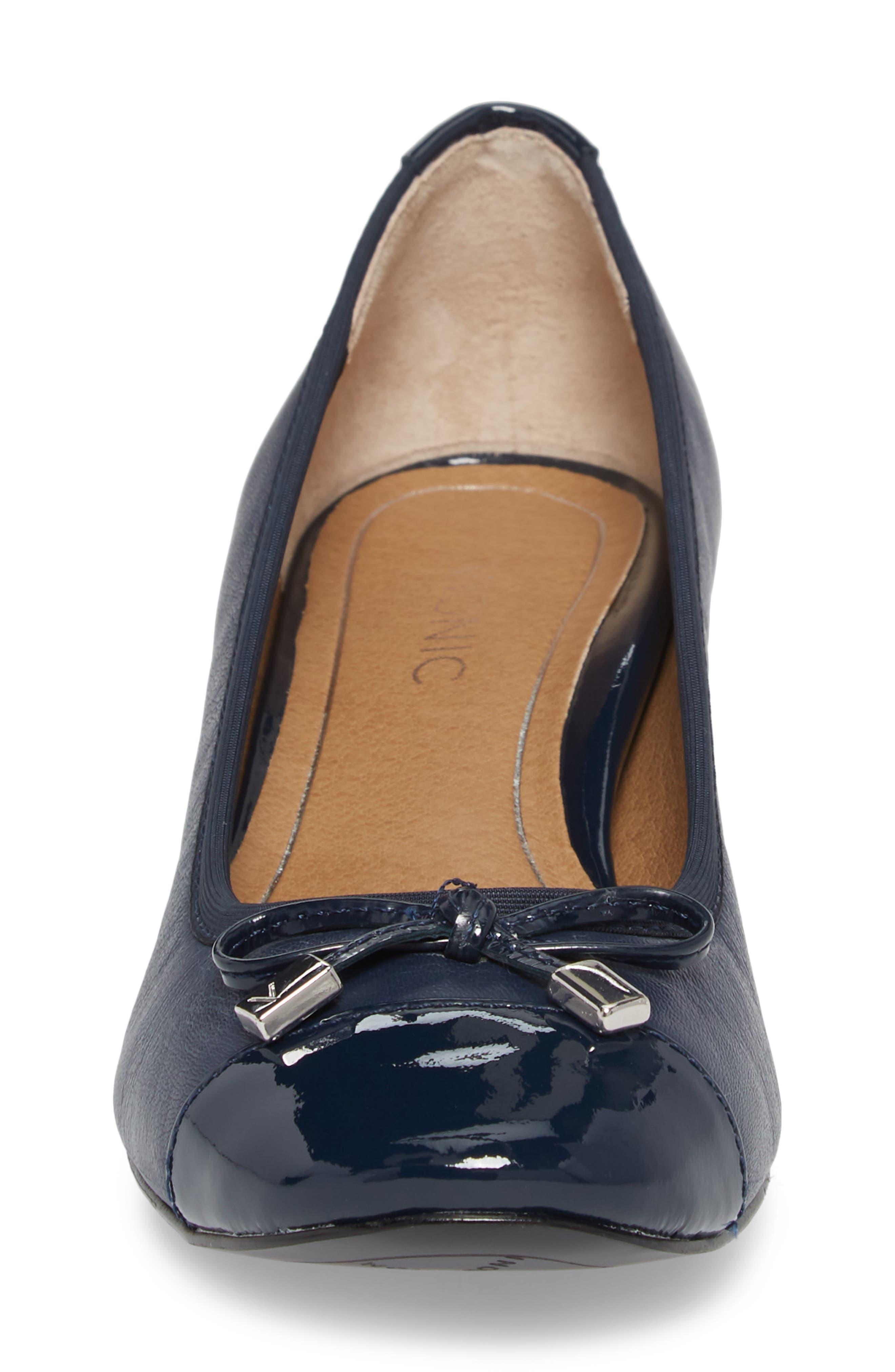 Daphne Cap Toe Pump,                             Alternate thumbnail 4, color,                             Navy Leather