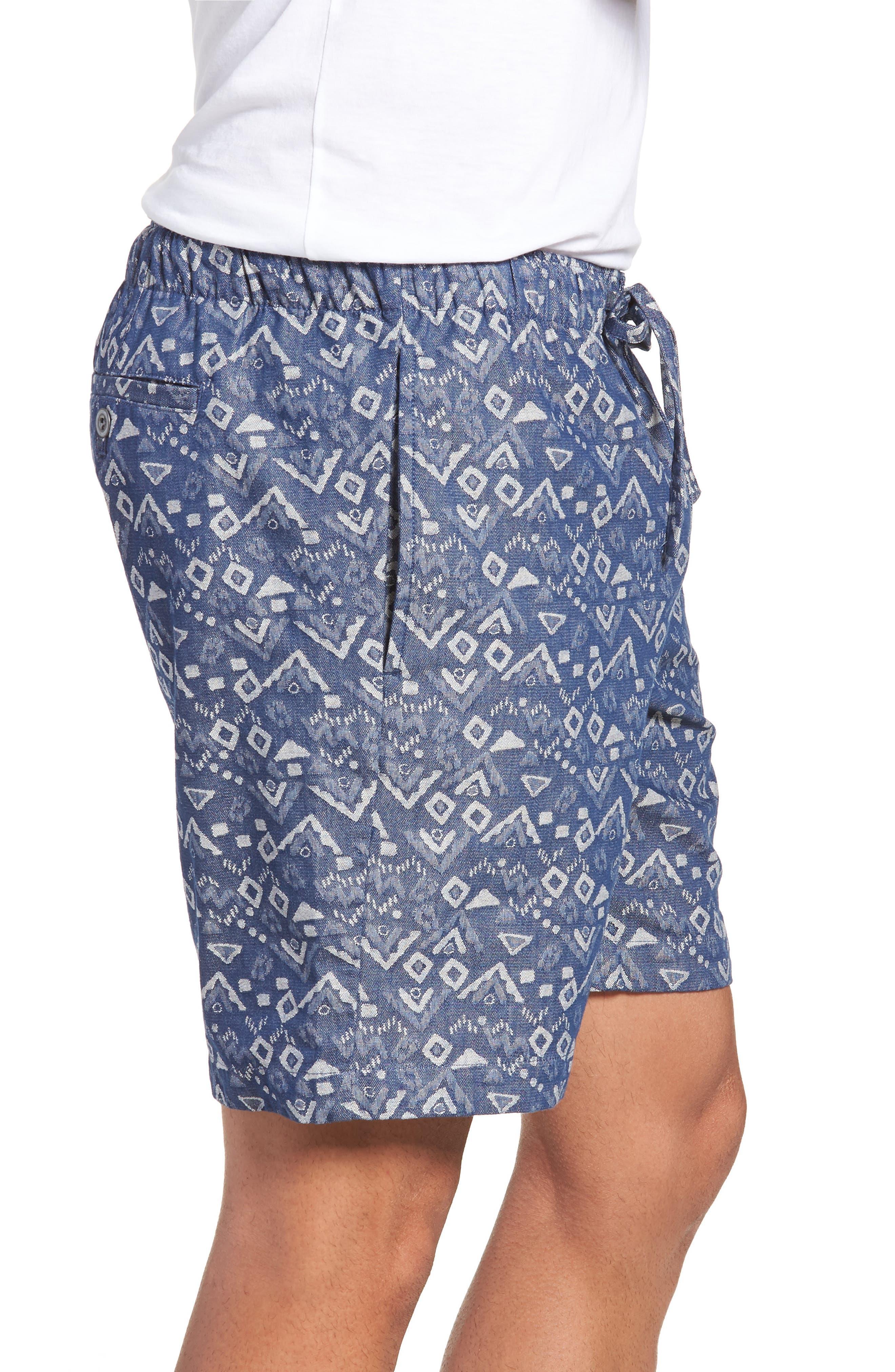 Slim Fit Print Beach Shorts,                             Alternate thumbnail 3, color,                             Triangles Jacquard