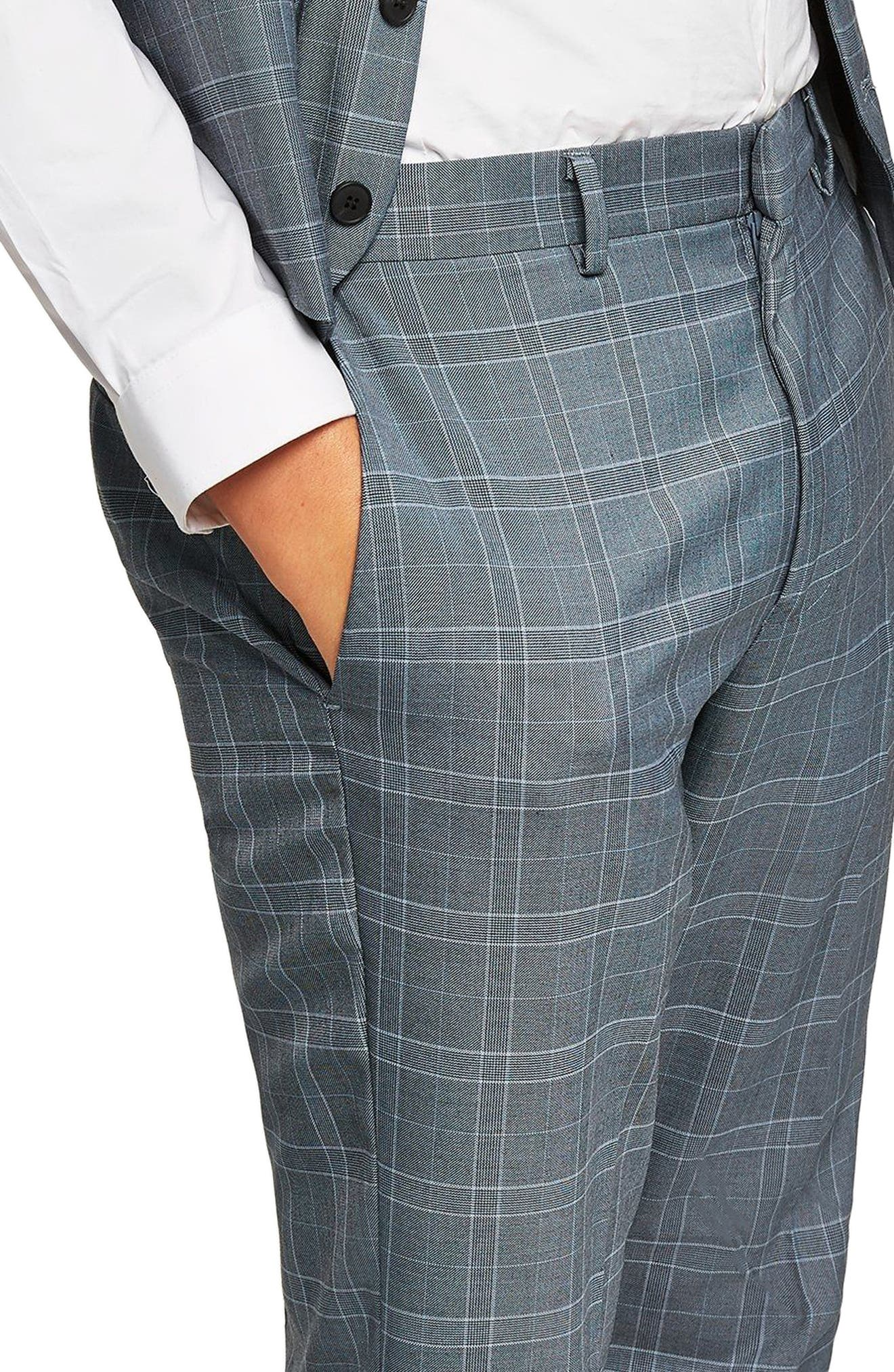 Check Skinny Fit Suit Trousers,                             Alternate thumbnail 3, color,                             Blue Multi