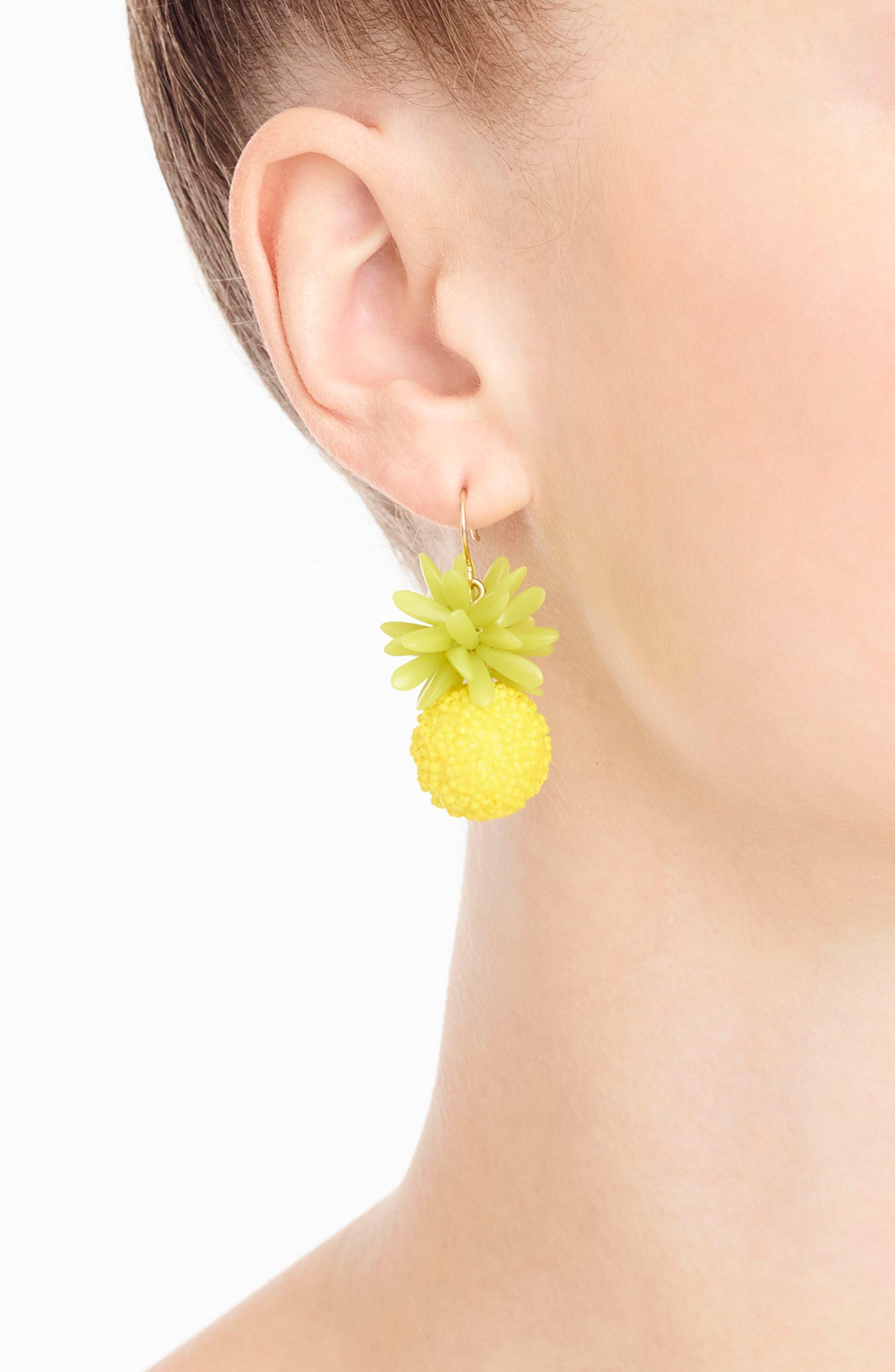 Pineapple Earrings,                             Alternate thumbnail 2, color,                             Bright Yellow