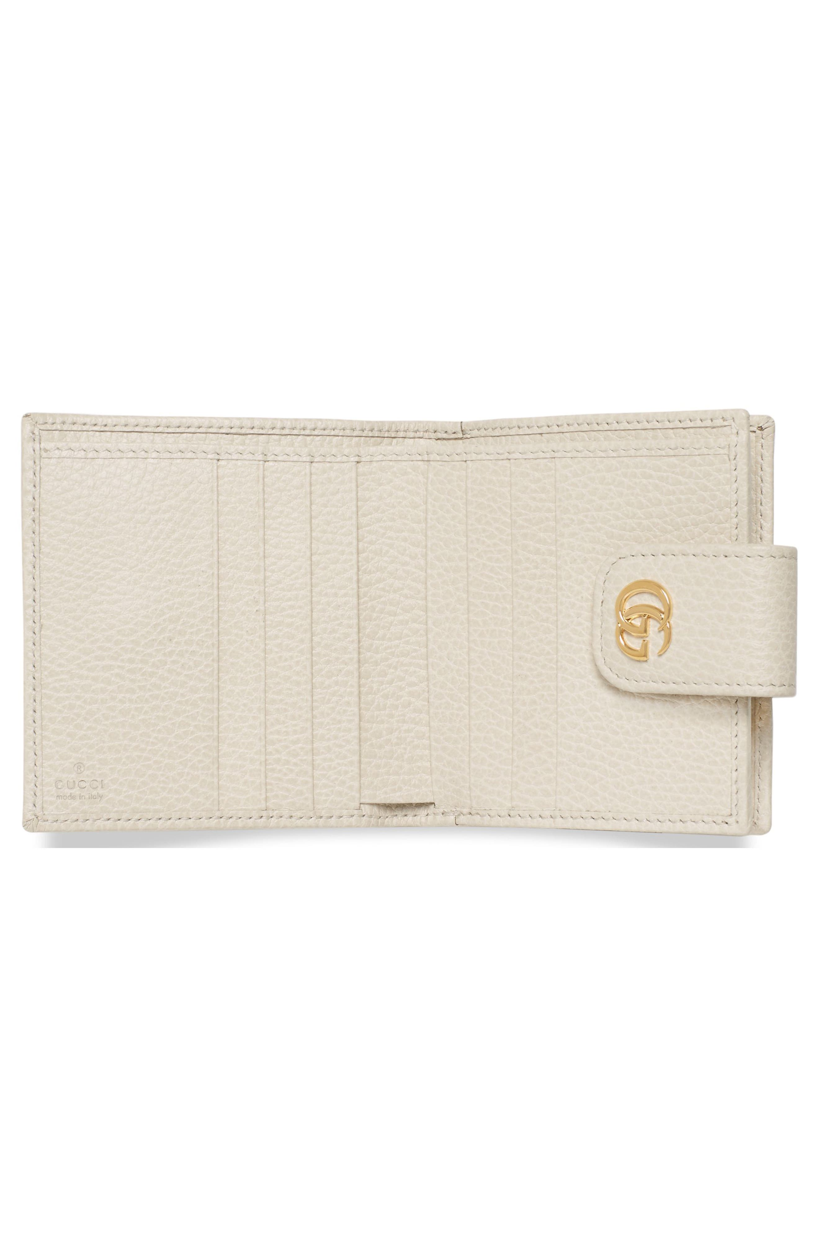 GG Marmont Leather Wallet,                             Alternate thumbnail 3, color,                             Mystic White