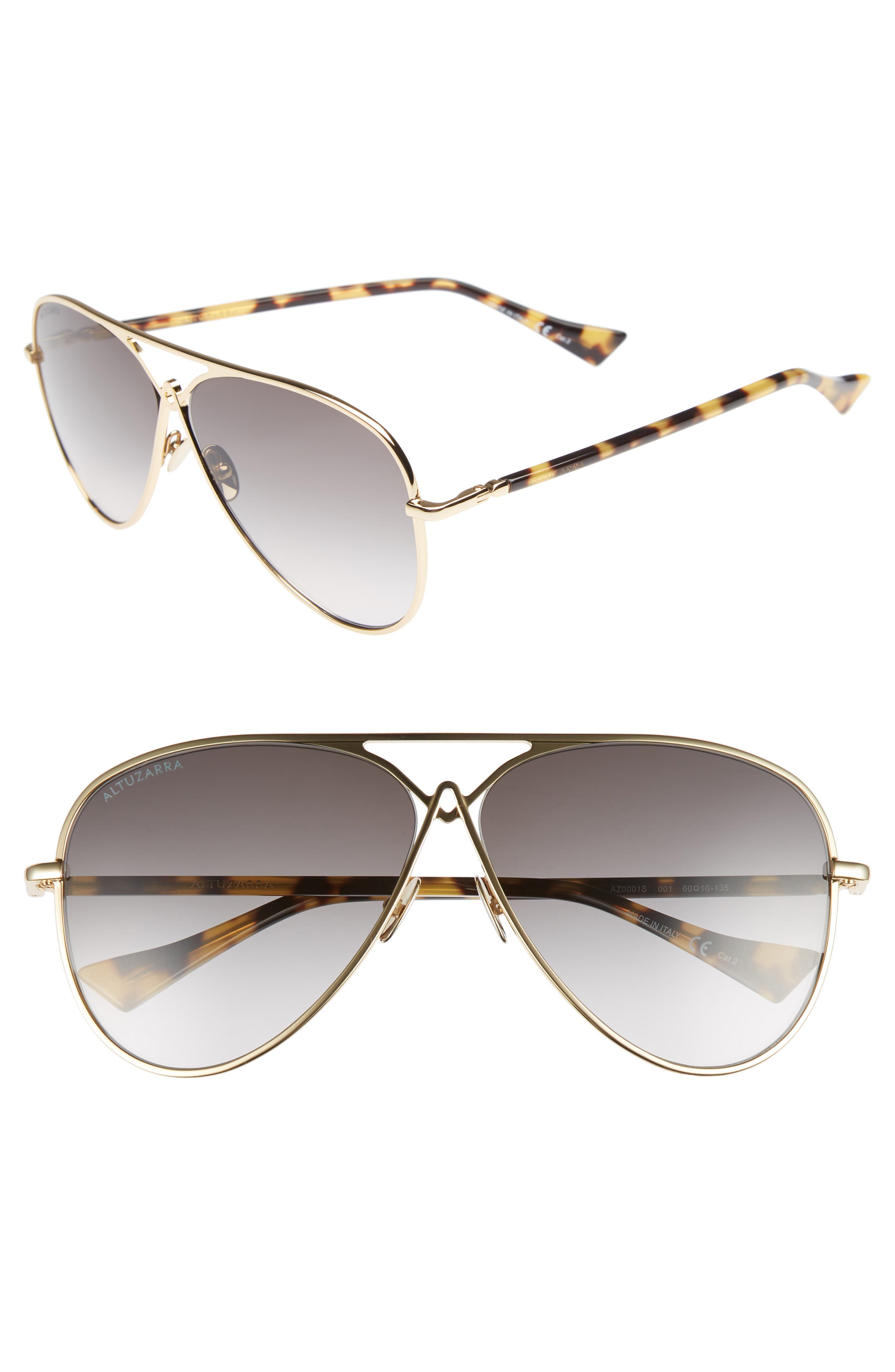 60mm Metal Aviator Sunglasses,                             Main thumbnail 1, color,                             Gold