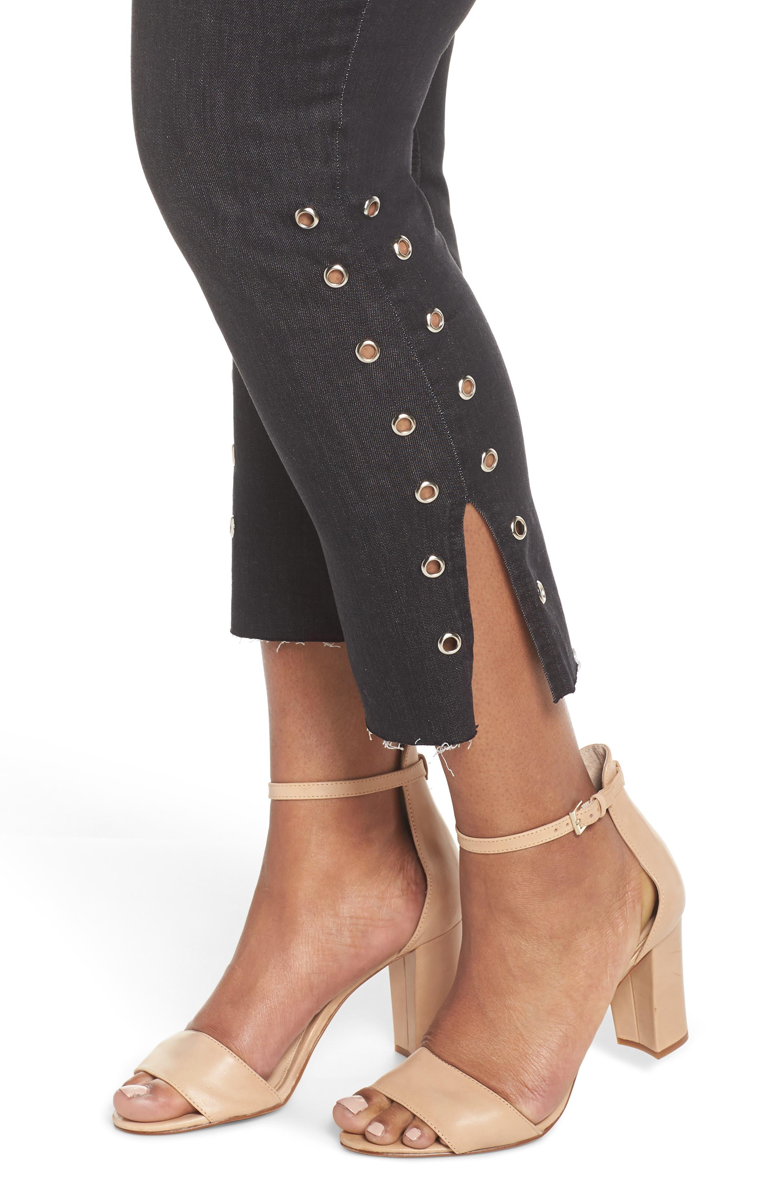 Grommet Slit Hem Ankle Skinny Jeans,                             Alternate thumbnail 4, color,                             Black