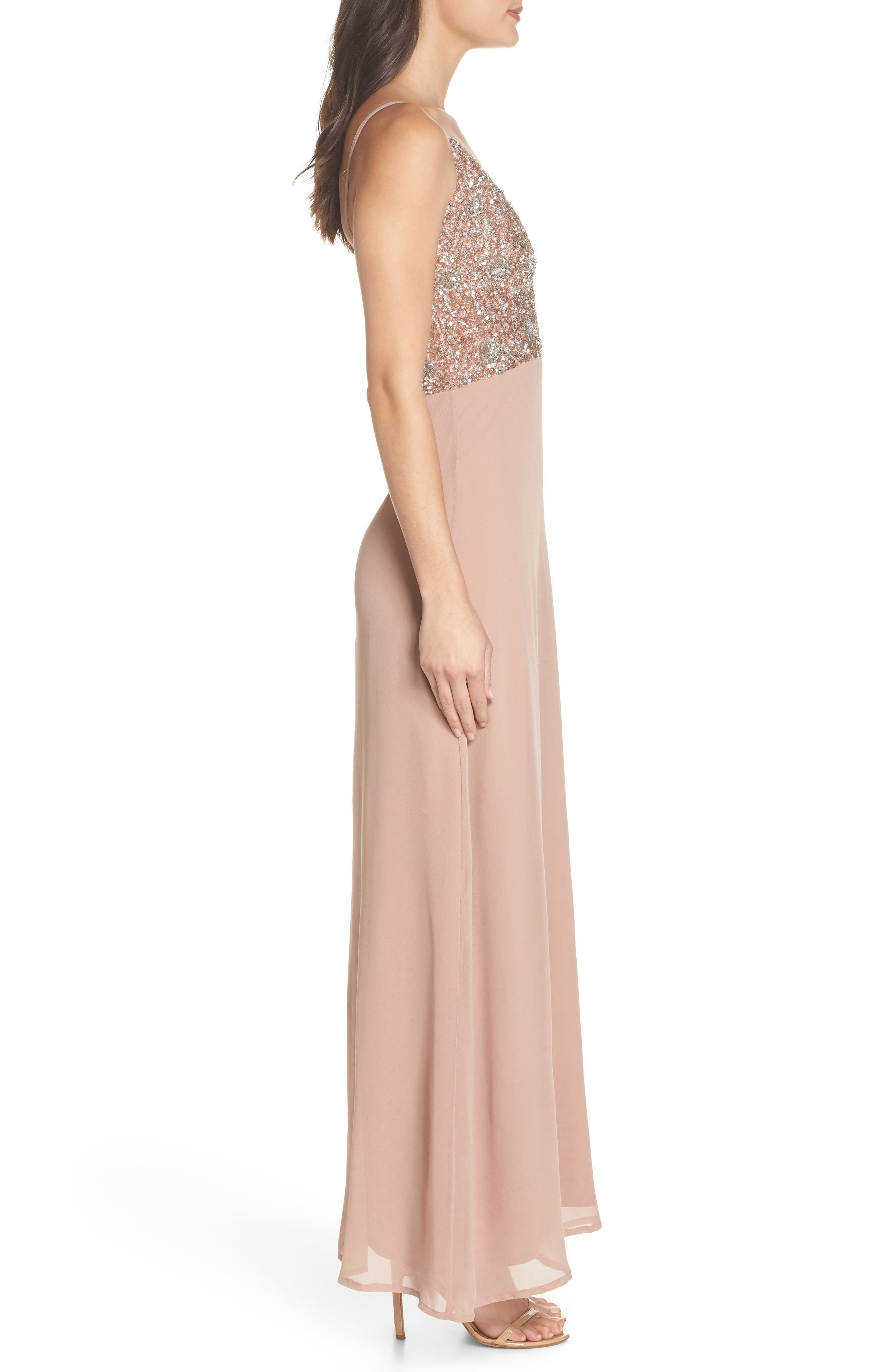 Embellished Chiffon Gown,                             Alternate thumbnail 3, color,                             Dusty Pink