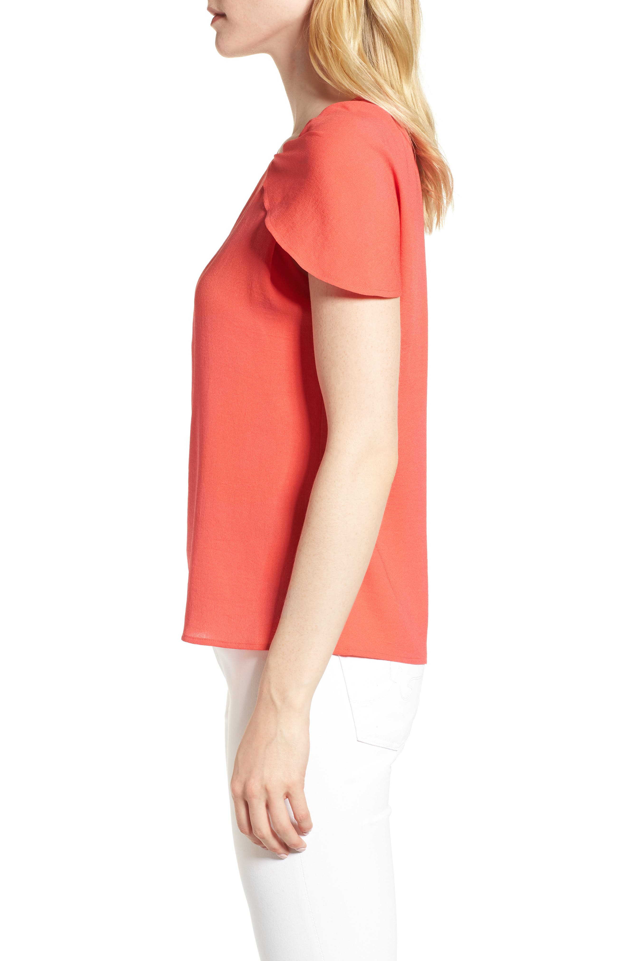 Asymmetrical Shoulder Top,                             Alternate thumbnail 3, color,                             Red Hibiscus